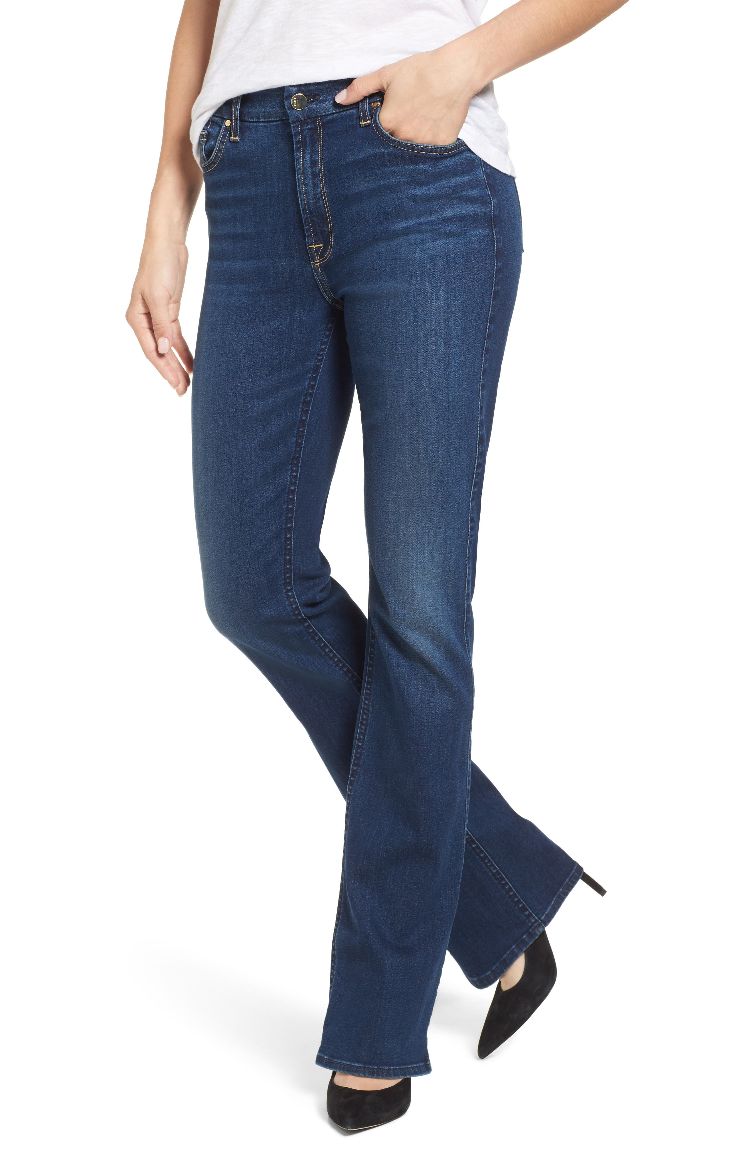 JEN7 BY 7 FOR ALL MANKIND, Slim Bootcut Jeans, Main thumbnail 1, color, RICHE TOUCH MEDIUM BLUE