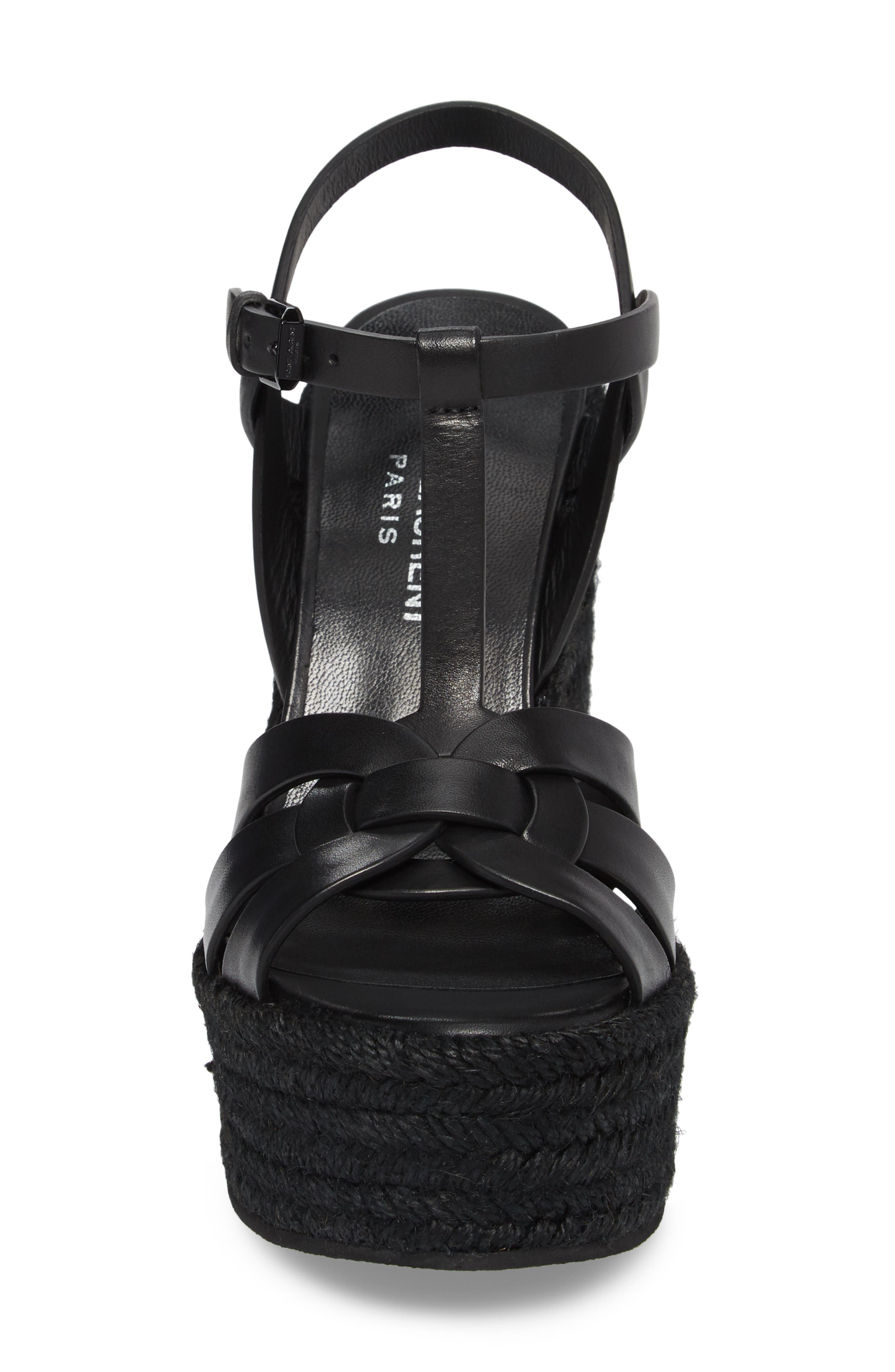 SAINT LAURENT, Tribute Espadrille Wedge, Alternate thumbnail 4, color, BLACK
