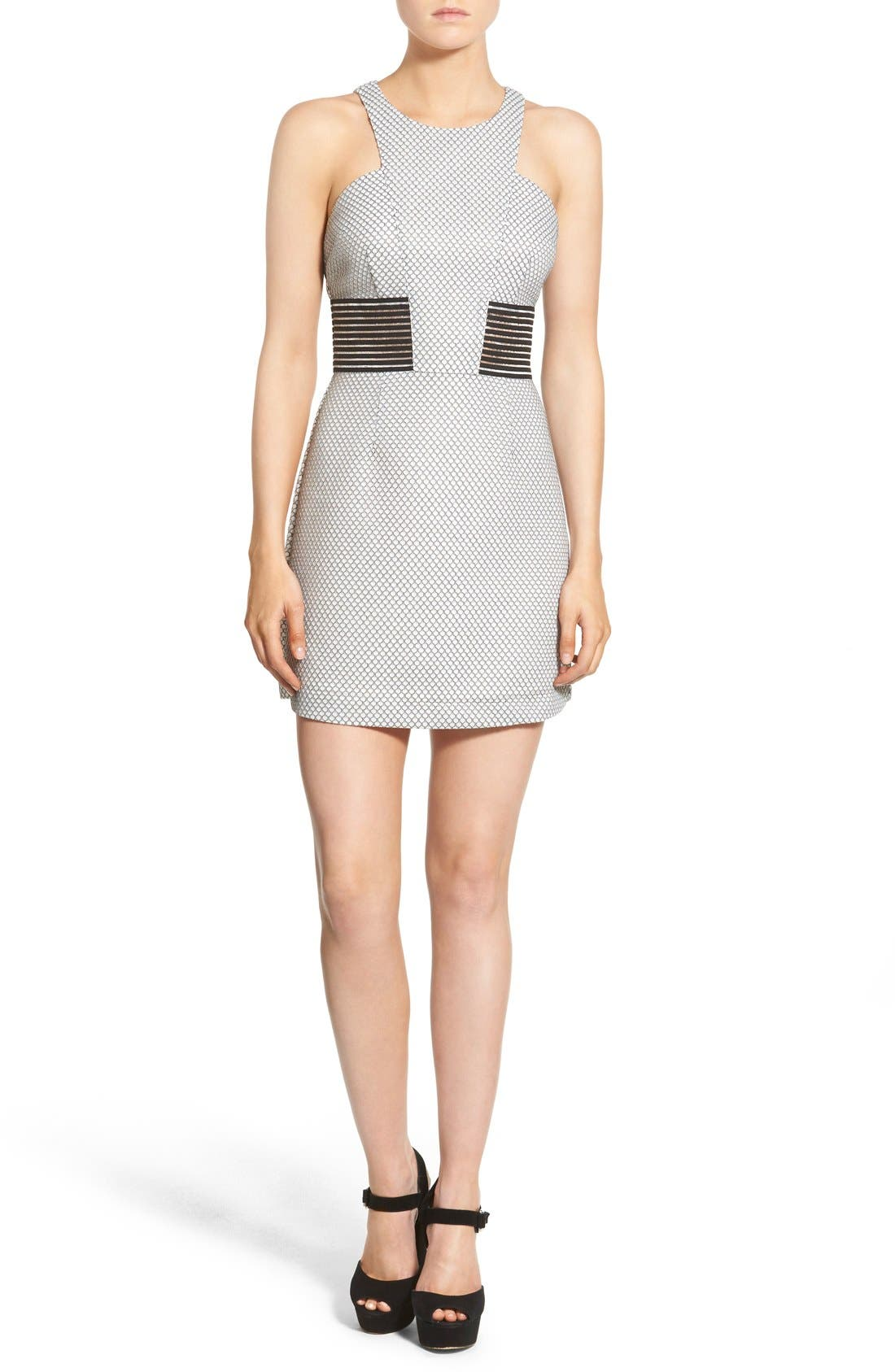 STOREE, Mesh Inset Body-Con Dress, Main thumbnail 1, color, 101