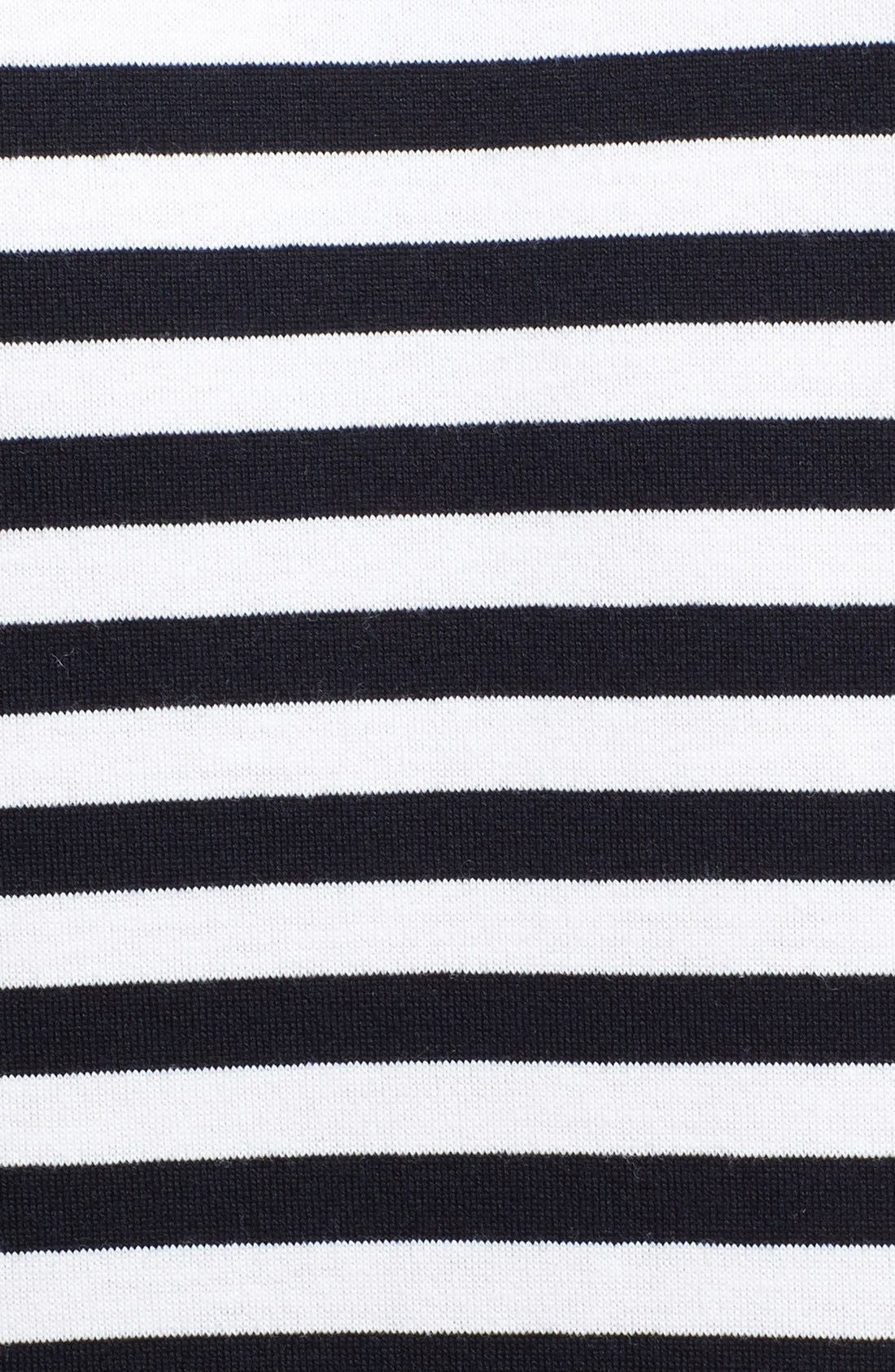 COMME DES GARÇONS PLAY, Stripe Long Sleeve T-Shirt, Alternate thumbnail 3, color, BLACK/ WHITE