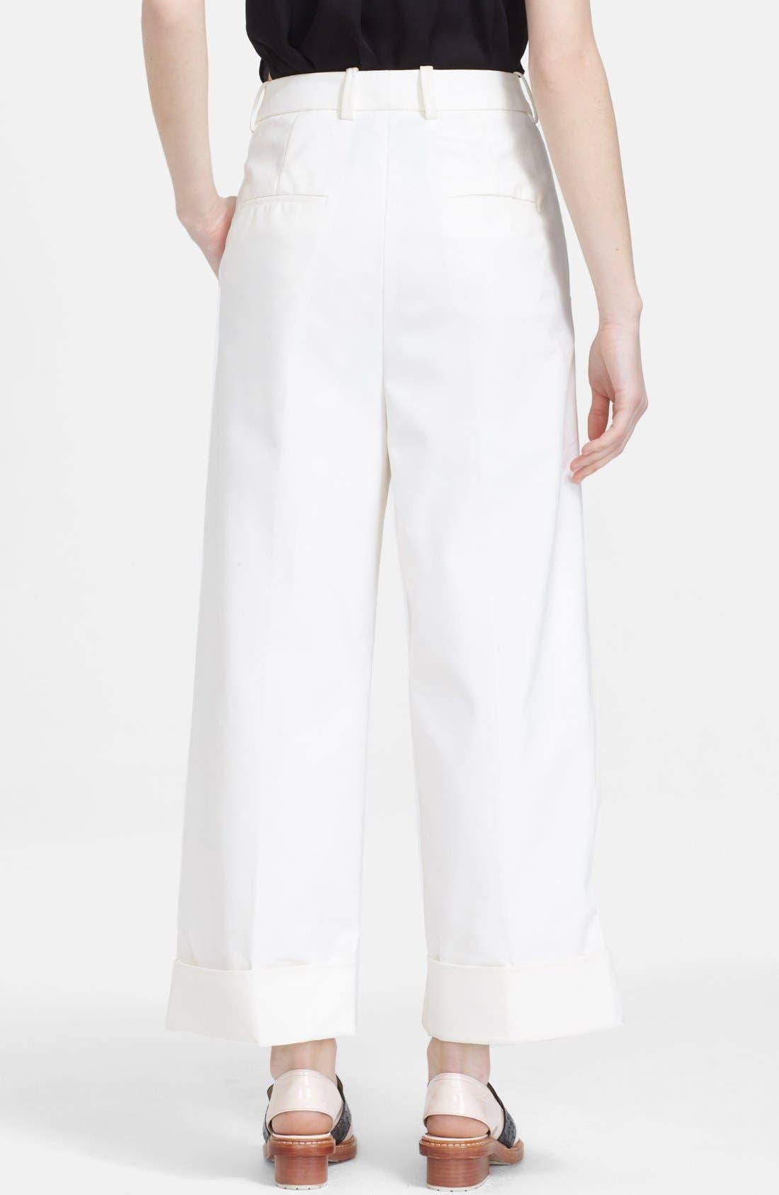 3.1 PHILLIP LIM, Cuffed Wide Leg Pants, Alternate thumbnail 3, color, 900
