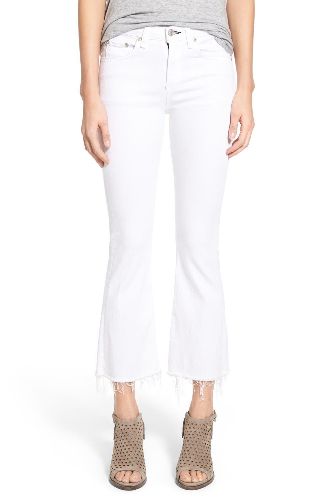 RAG & BONE, High Rise Raw Hem Crop Flare Jeans, Main thumbnail 1, color, BRIGHT WHITE