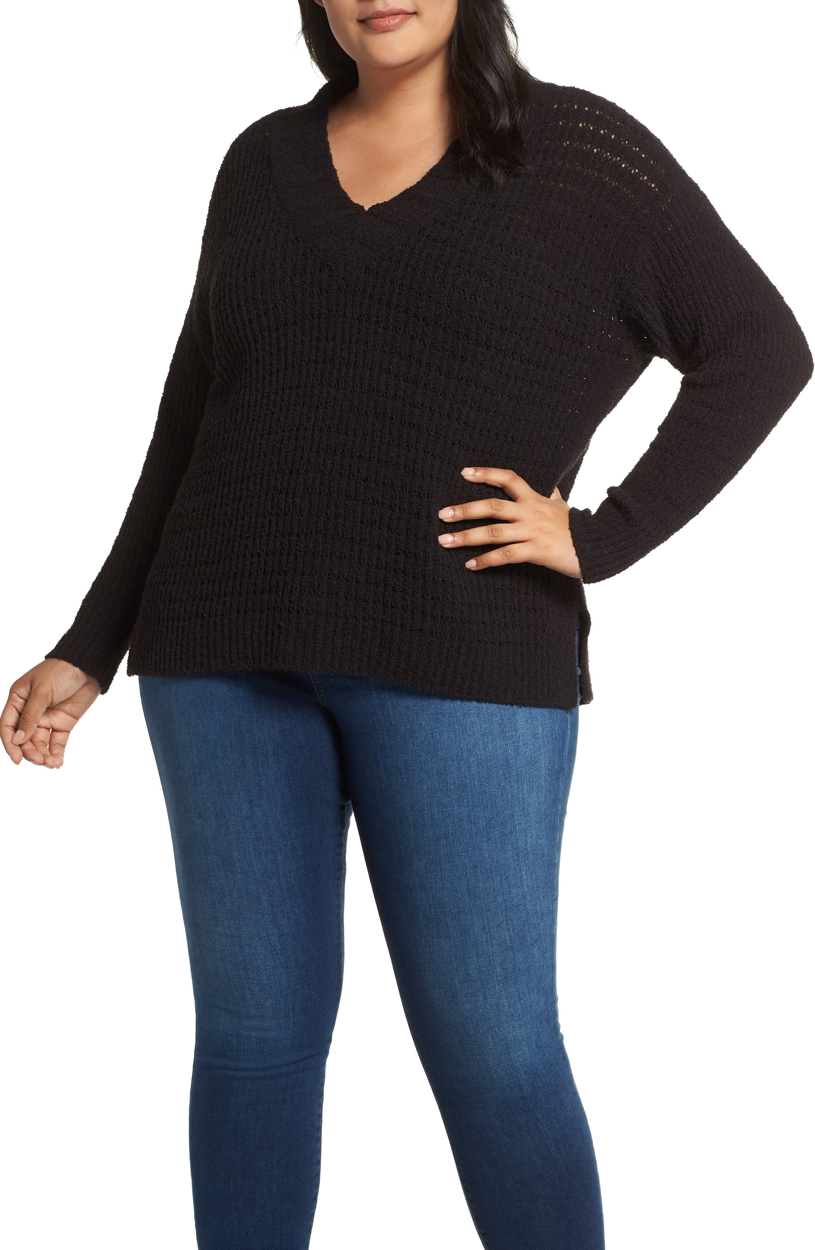 CASLON<SUP>®</SUP> Tuck Stitch Sweater, Main, color, BLACK