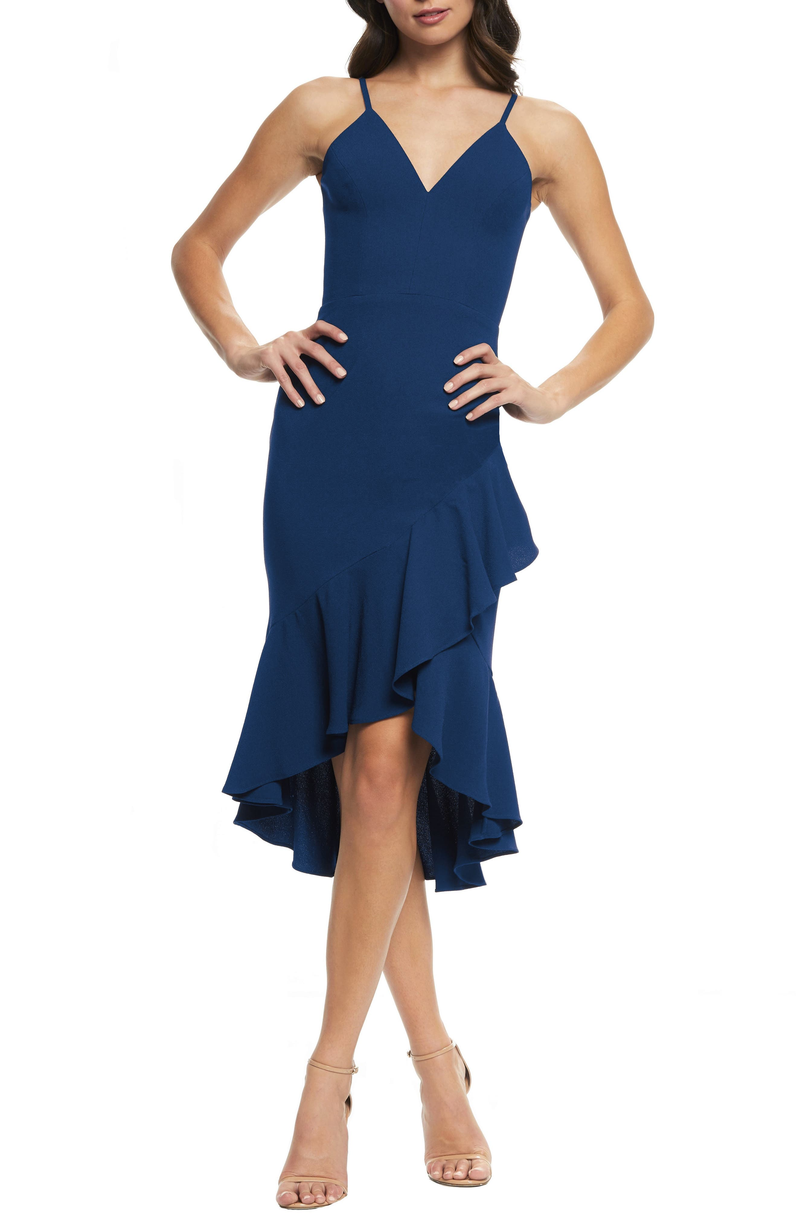 Dress The Population Wendy High/low Ruffle Cocktail Dress, Blue