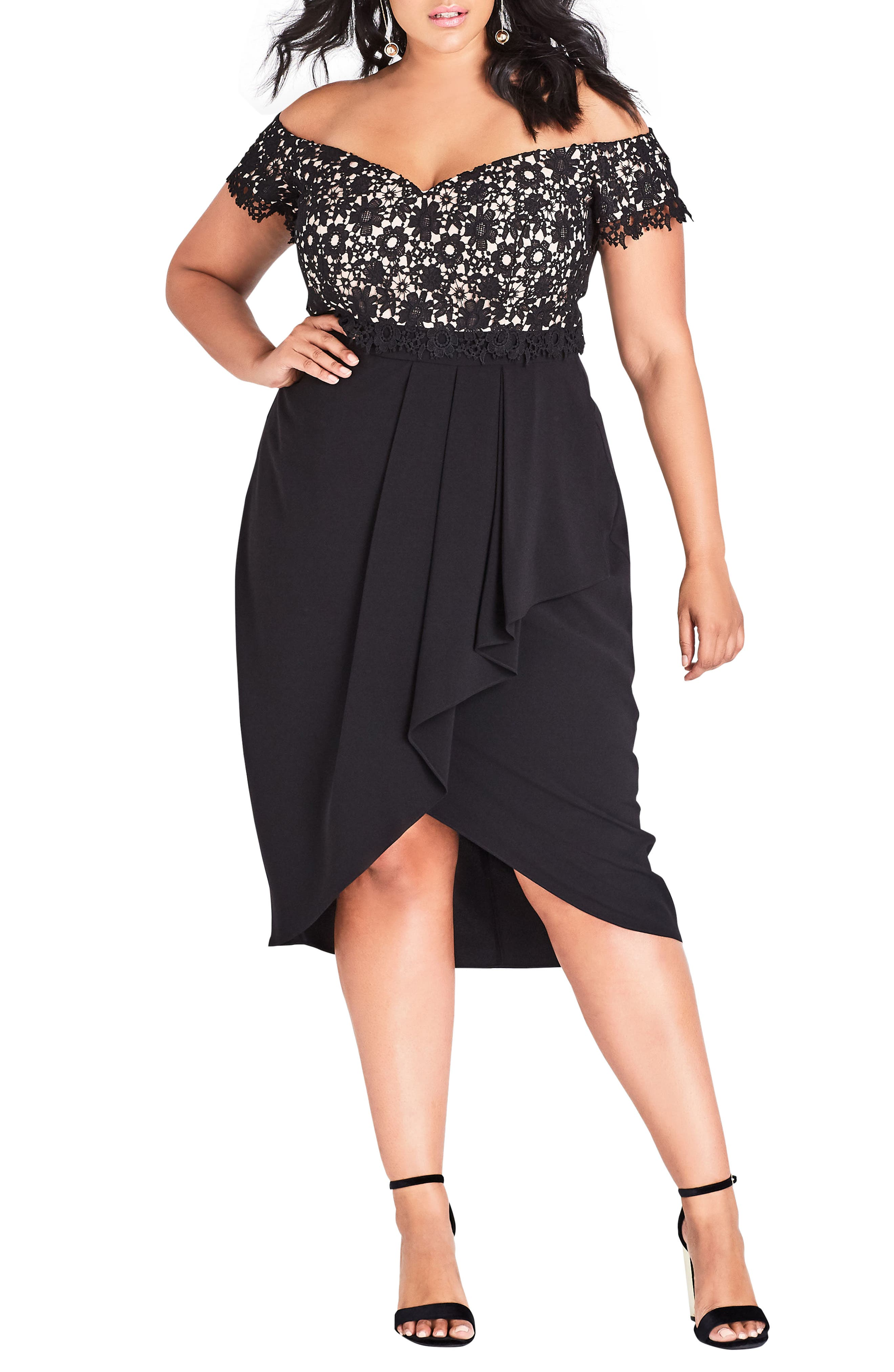 CITY CHIC, Glamour Lace Dress, Main thumbnail 1, color, BLACK