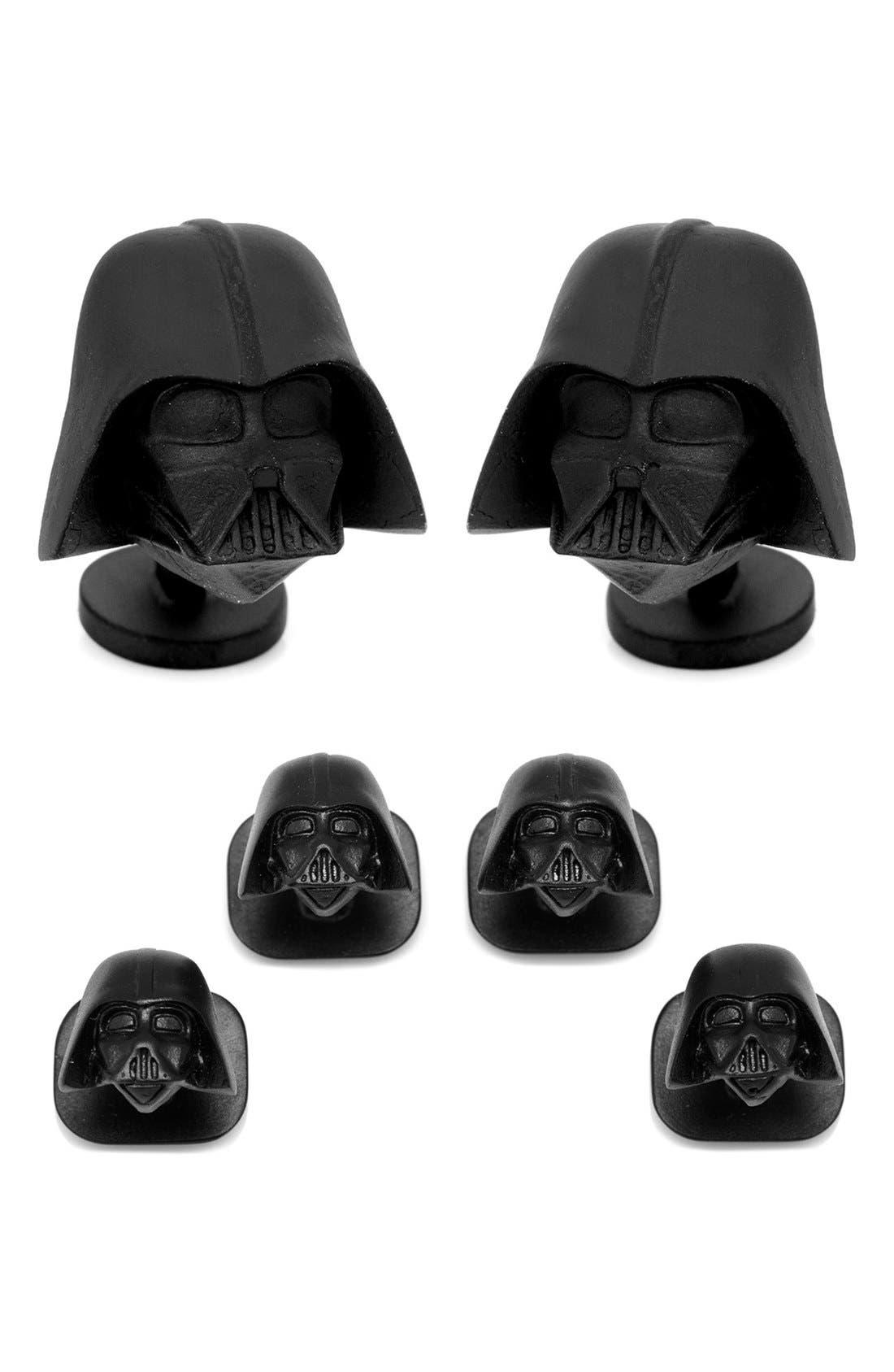 CUFFLINKS, INC., 'Star Wars -Darth Vader' Cuff Links & Shirt Studs Set, Main thumbnail 1, color, 001