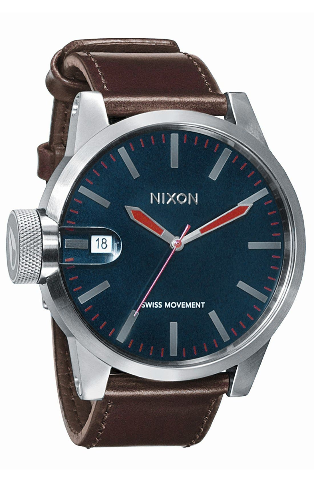 NIXON, 'The Chronicle' Leather Watch, Main thumbnail 1, color, 200