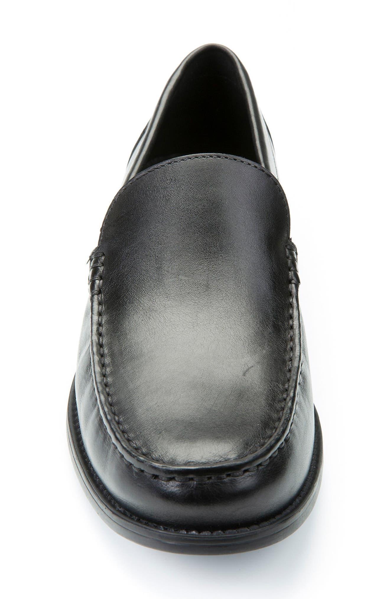 GEOX, New Damon 2 Venetian Slip-On Shoe, Alternate thumbnail 4, color, BLACK LEATHER