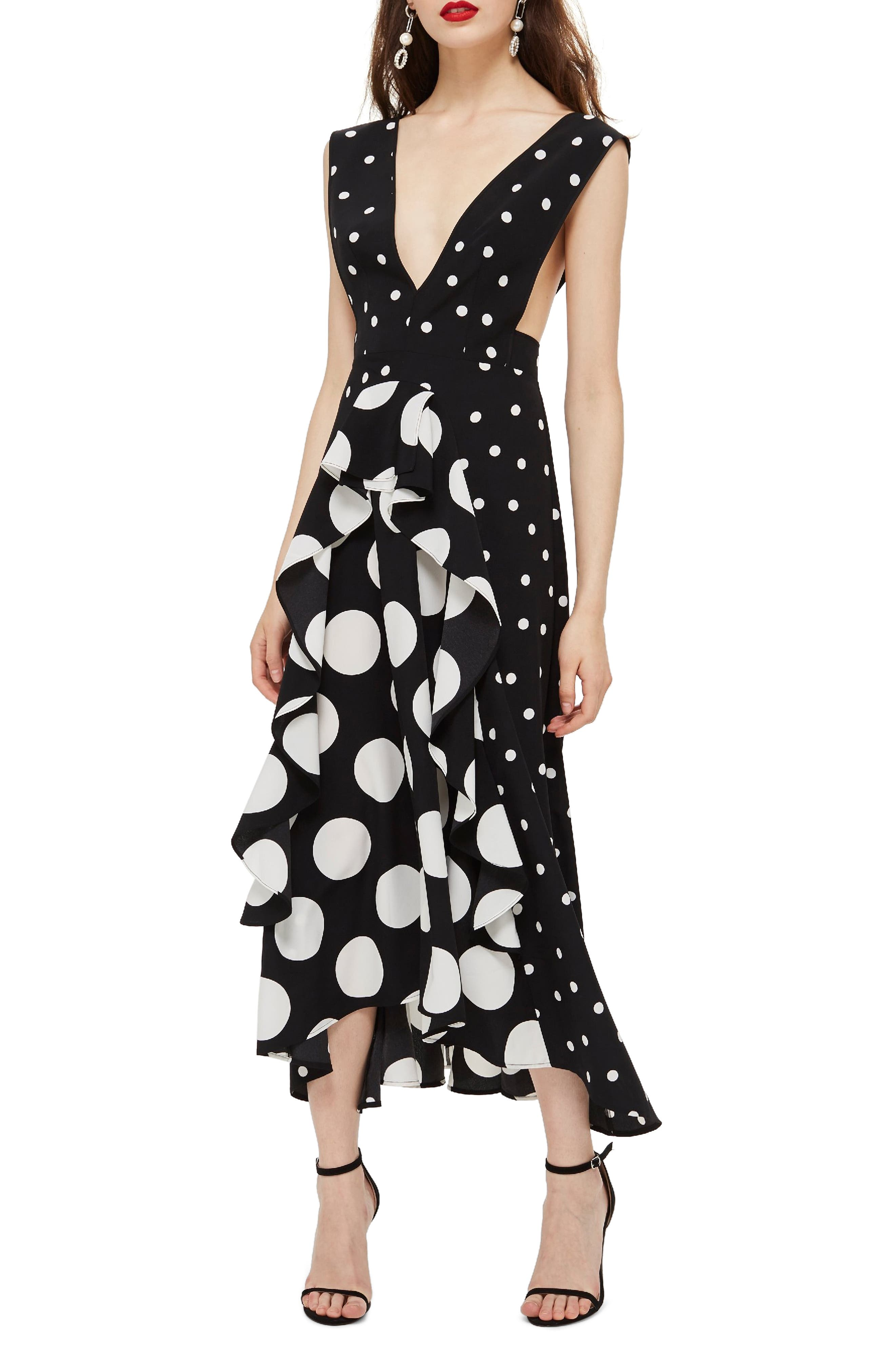 TOPSHOP, Spot Plunge Neck Midi Dress, Main thumbnail 1, color, 001