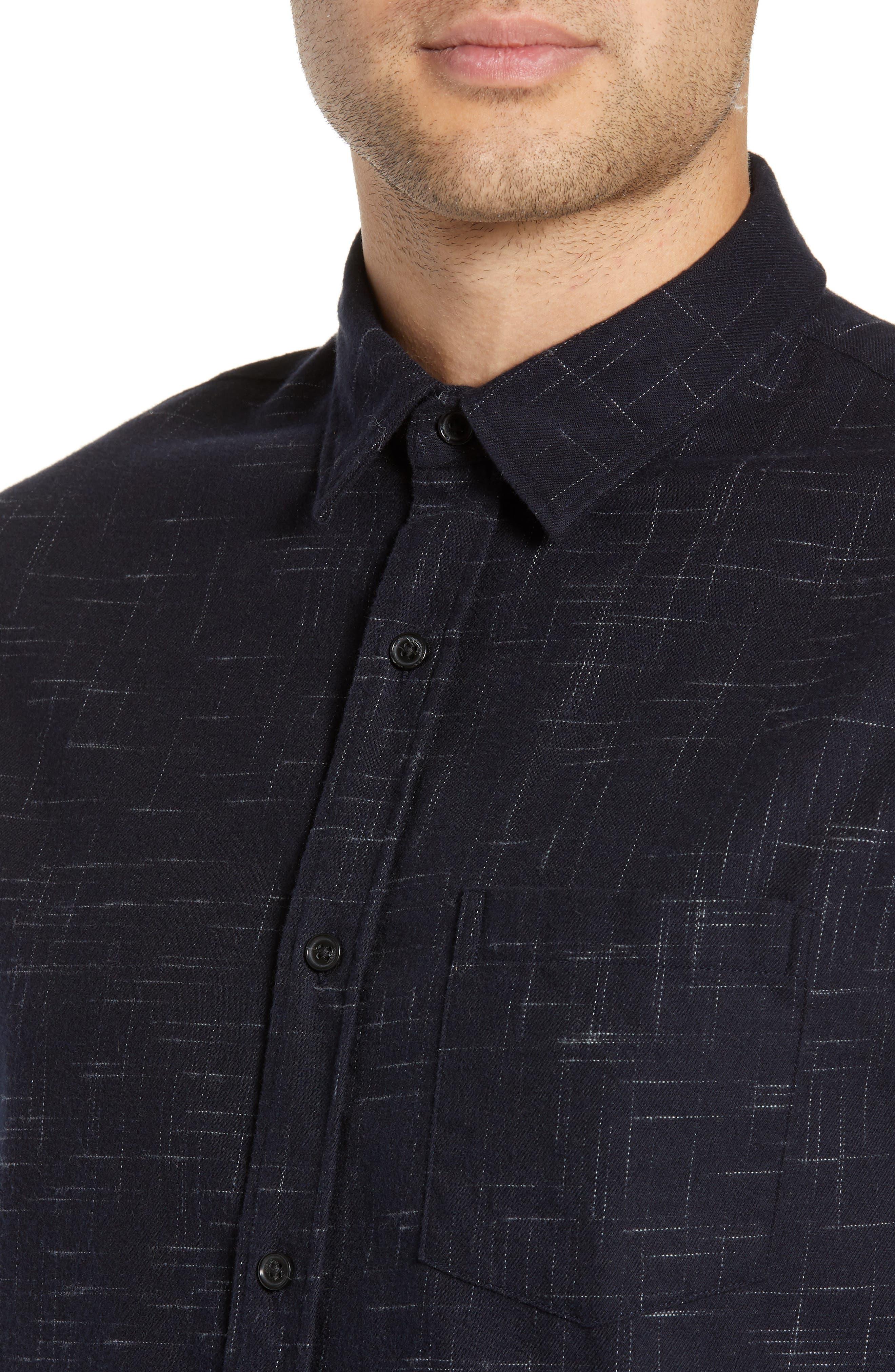 VINCE, Classic Fit Crosshatch Print Sport Shirt, Alternate thumbnail 2, color, COASTAL