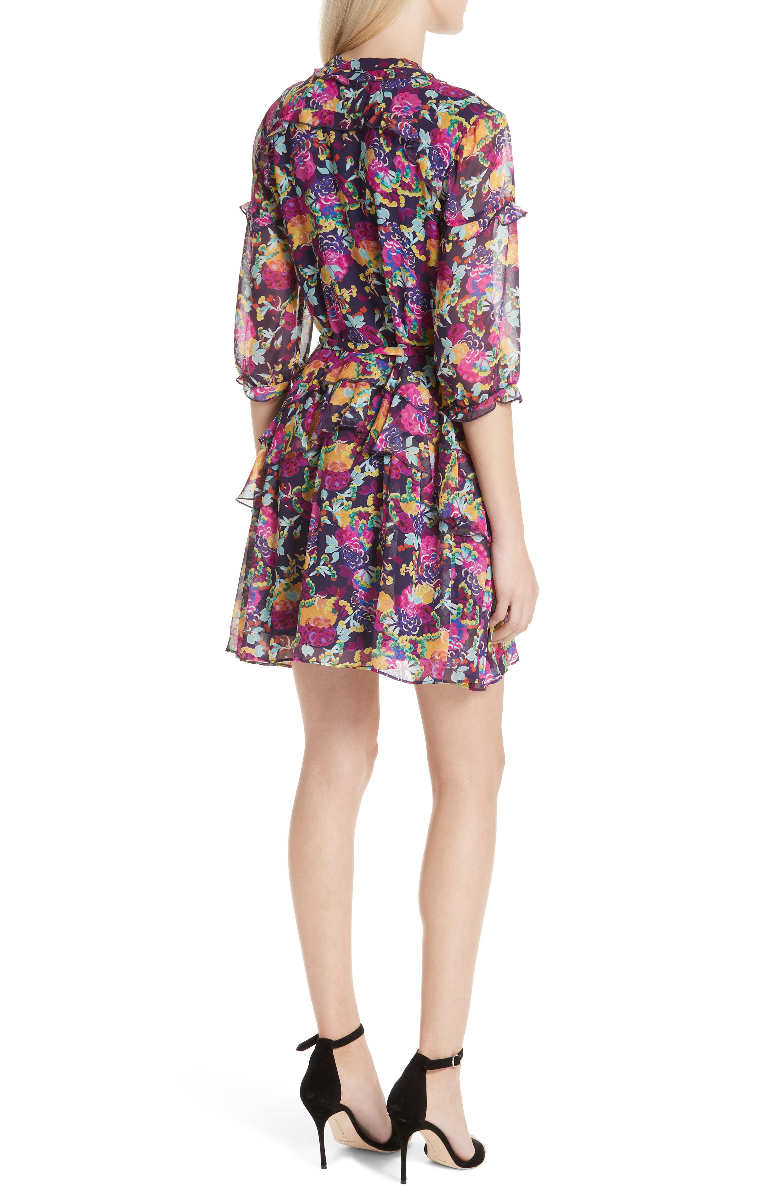 SALONI, Tilly Ruffle Silk Dress, Alternate thumbnail 2, color, CAMELLIA