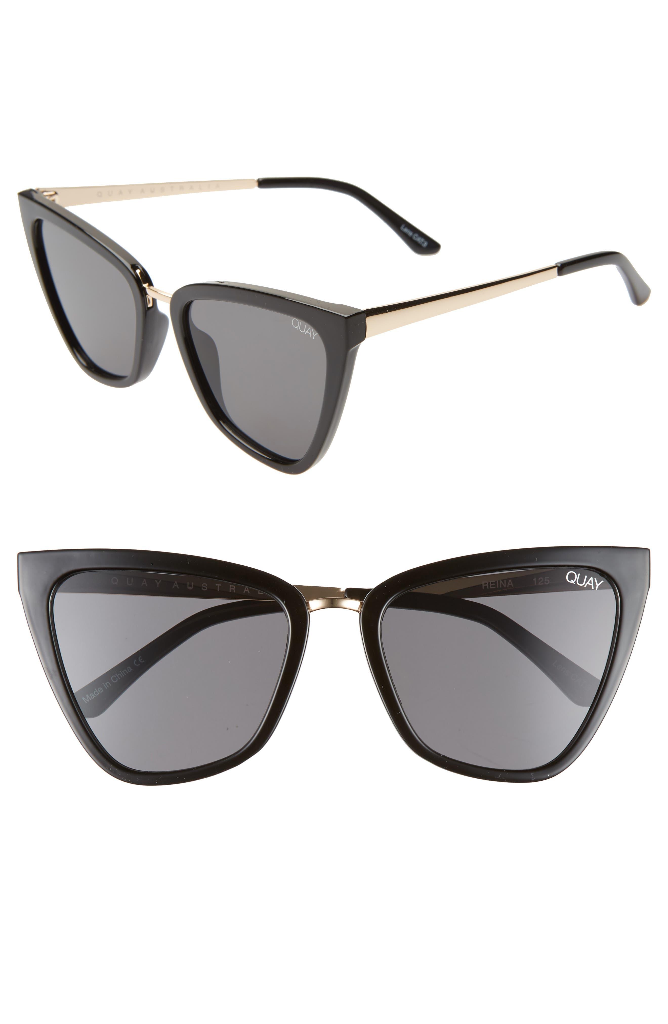 QUAY AUSTRALIA, x JLO Reina 51mm Cat Eye Sunglasses, Main thumbnail 1, color, BLACK / SMOKE