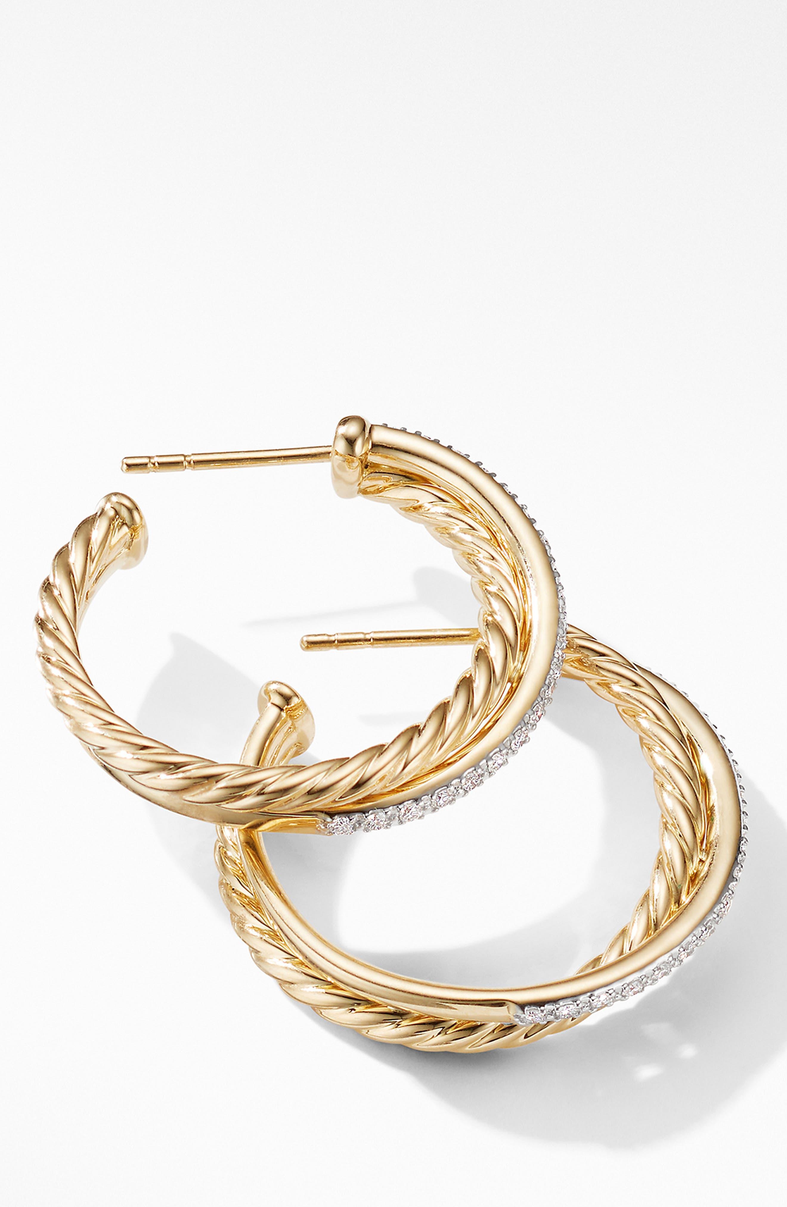 DAVID YURMAN, Medium Crossover Hoop Earrings with Diamonds, Alternate thumbnail 2, color, GOLD/ DIAMOND