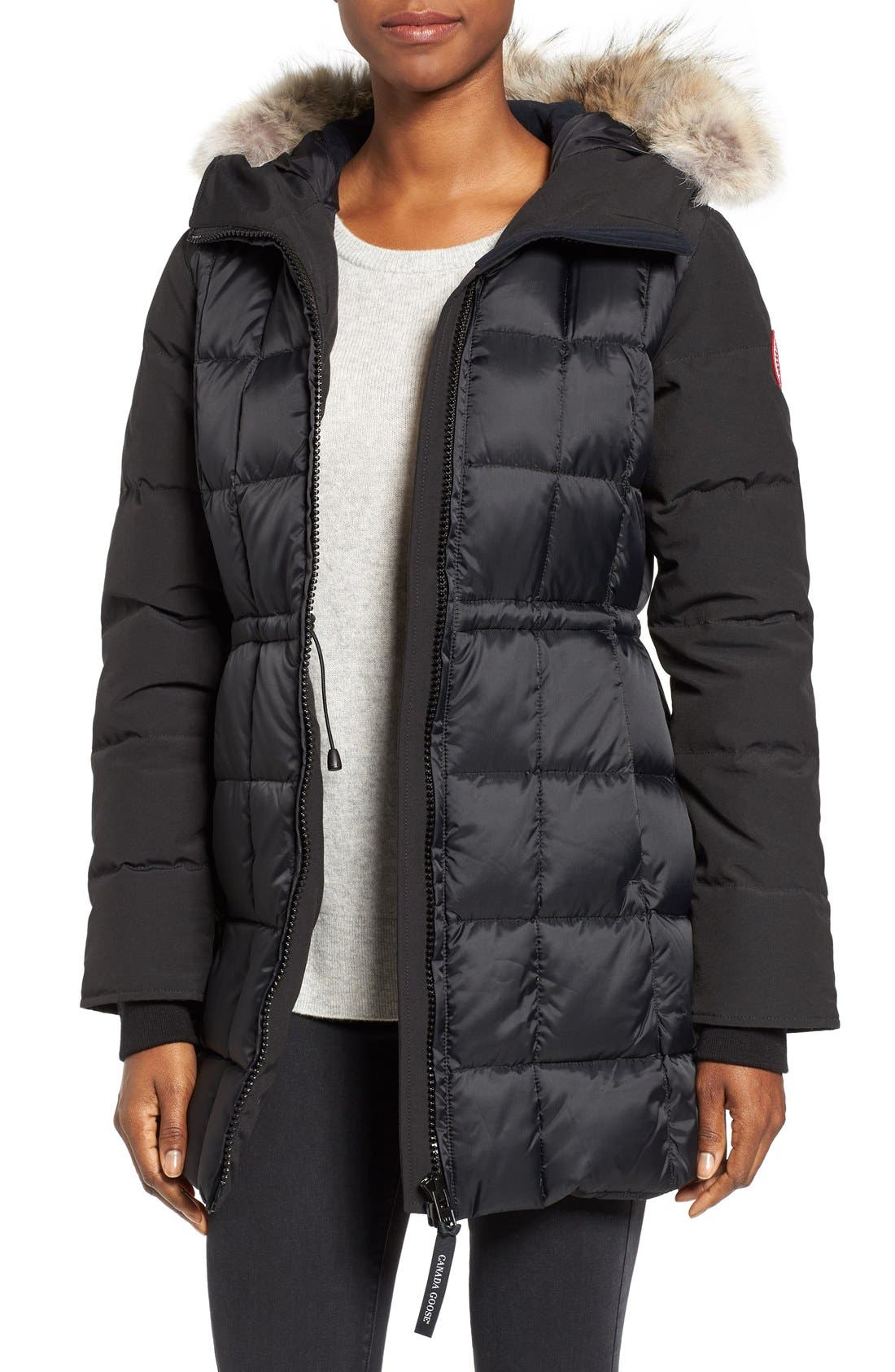 CANADA GOOSE, Beechwood Down Parka with Genuine Coyote Fur Trim, Main thumbnail 1, color, BLACK
