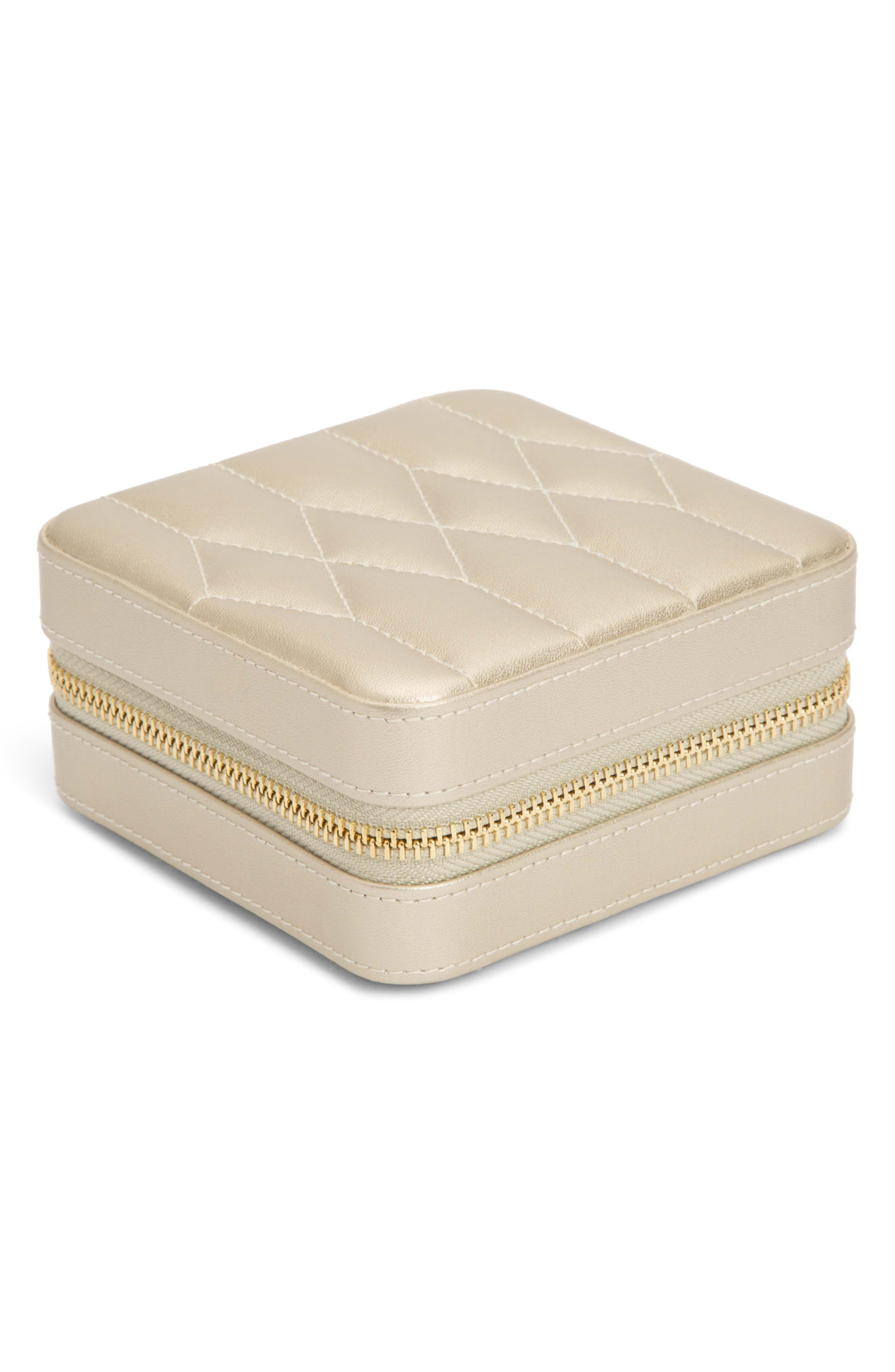 WOLF 'Caroline' Travel Jewelry Case, Main, color, CHAMPAGNE