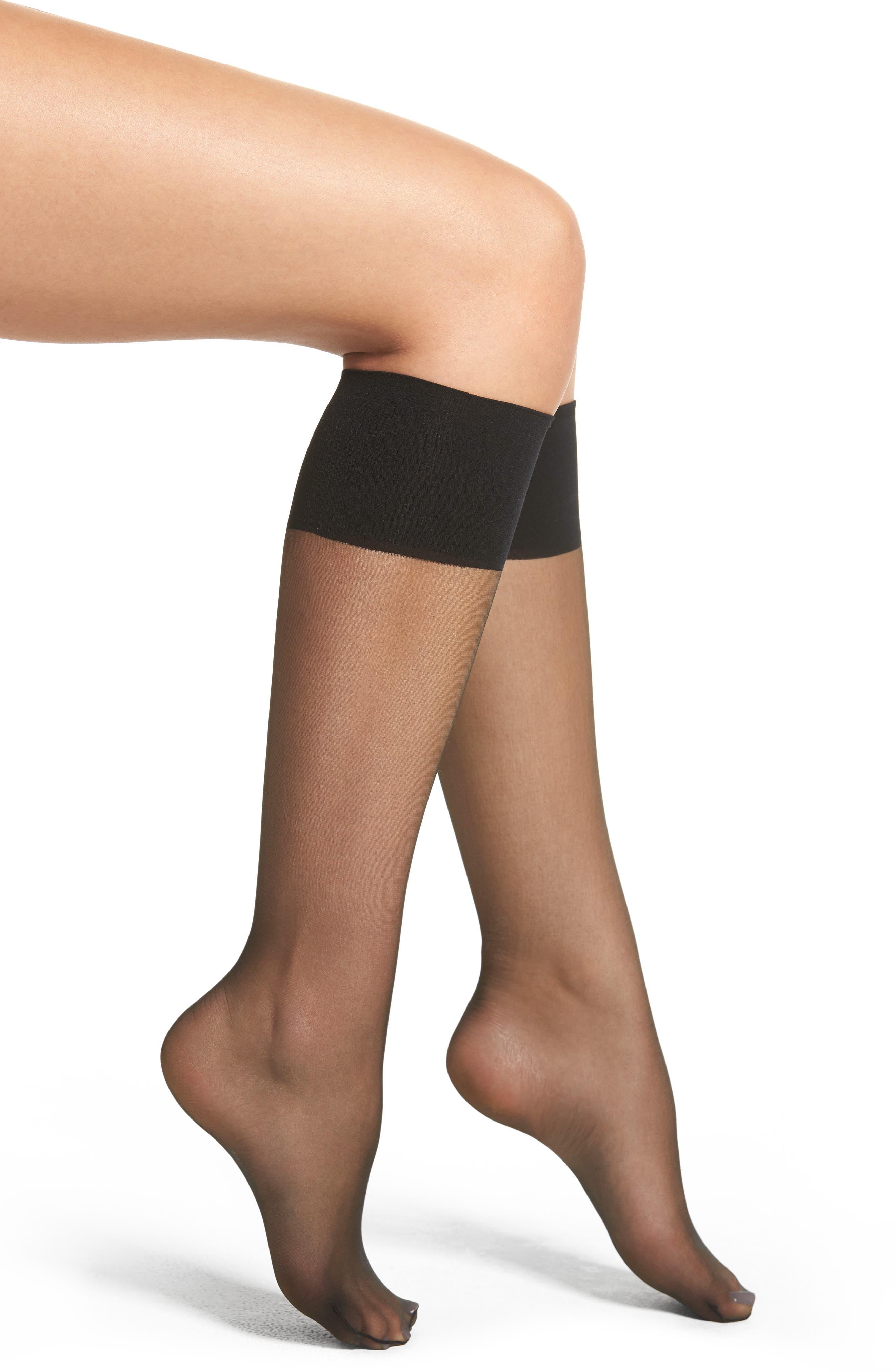 NORDSTROM, 2-Pack Naked Sheer Knee Highs, Main thumbnail 1, color, BLACK