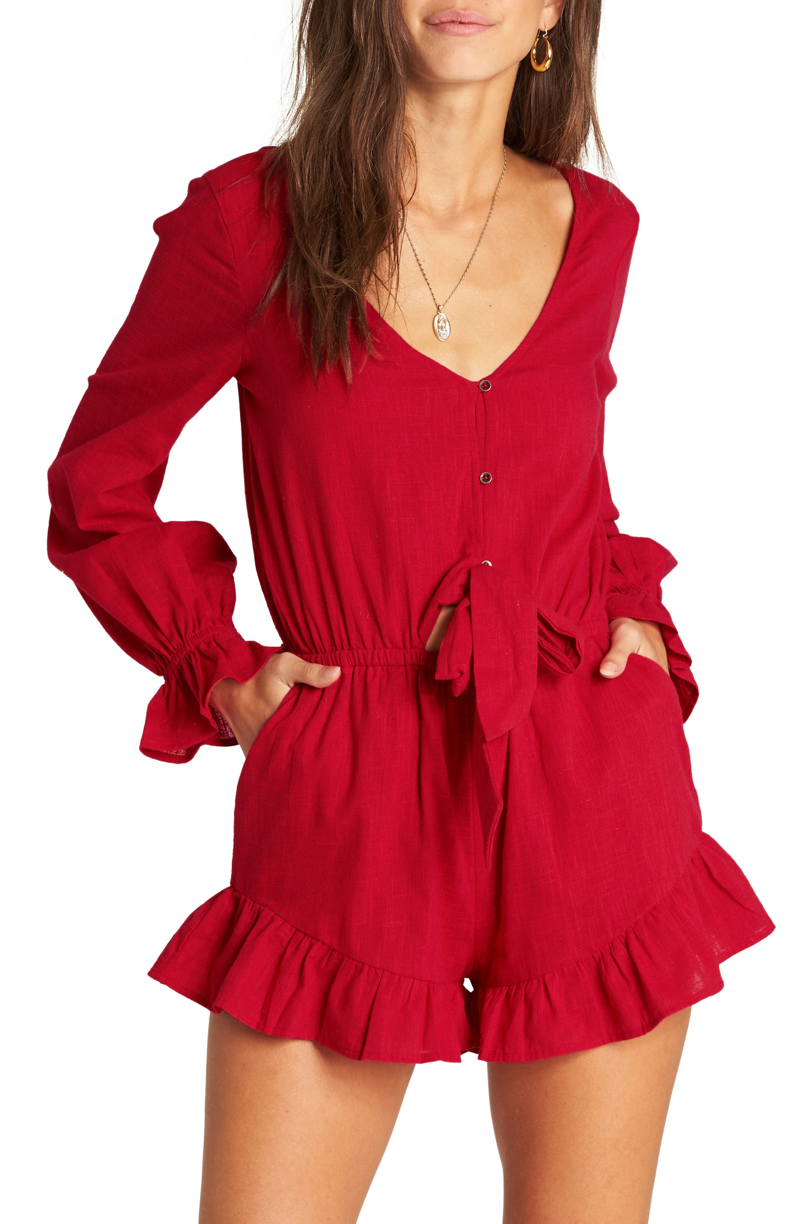 BILLABONG Play All Day Romper, Main, color, HAVANA RED