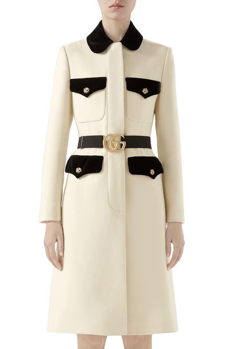 24e520240e844 Gucci Velvet Trim Belted Wool Coat