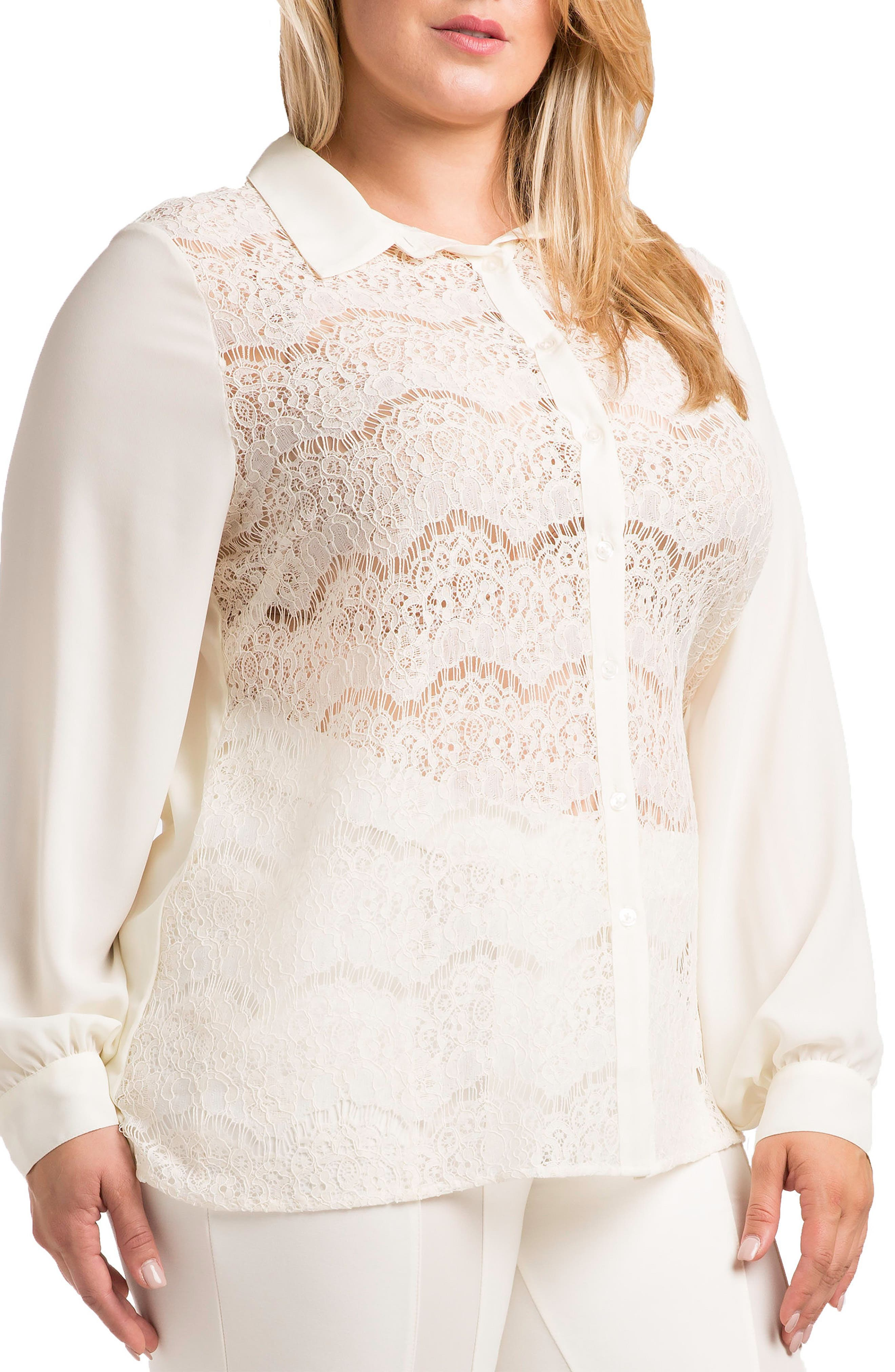 STANDARDS & PRACTICES Coco Lace Front Shirt, Main, color, WHITE