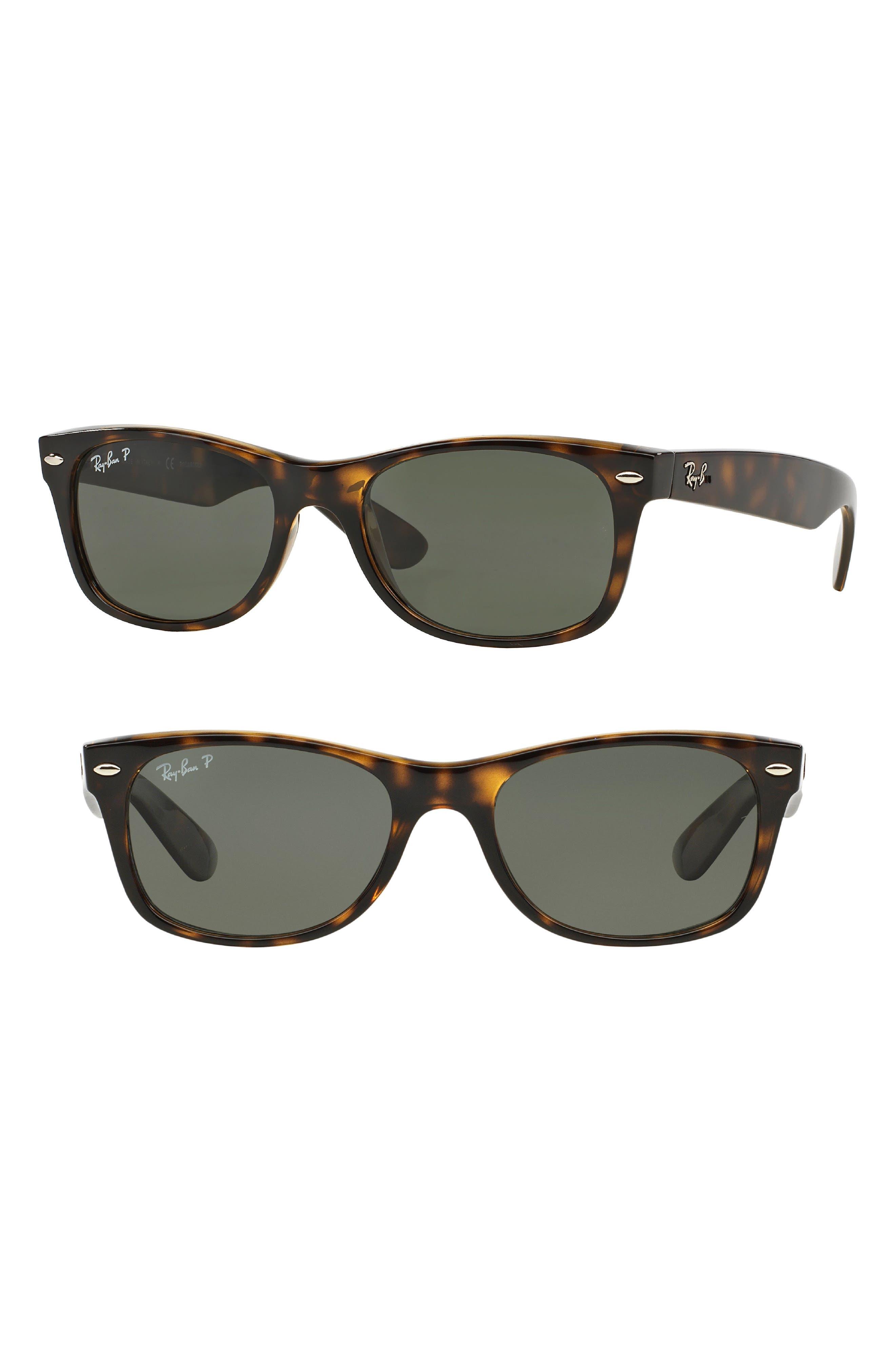 RAY-BAN, Small New Wayfarer 52mm Polarized Sunglasses, Main thumbnail 1, color, TORTOISE
