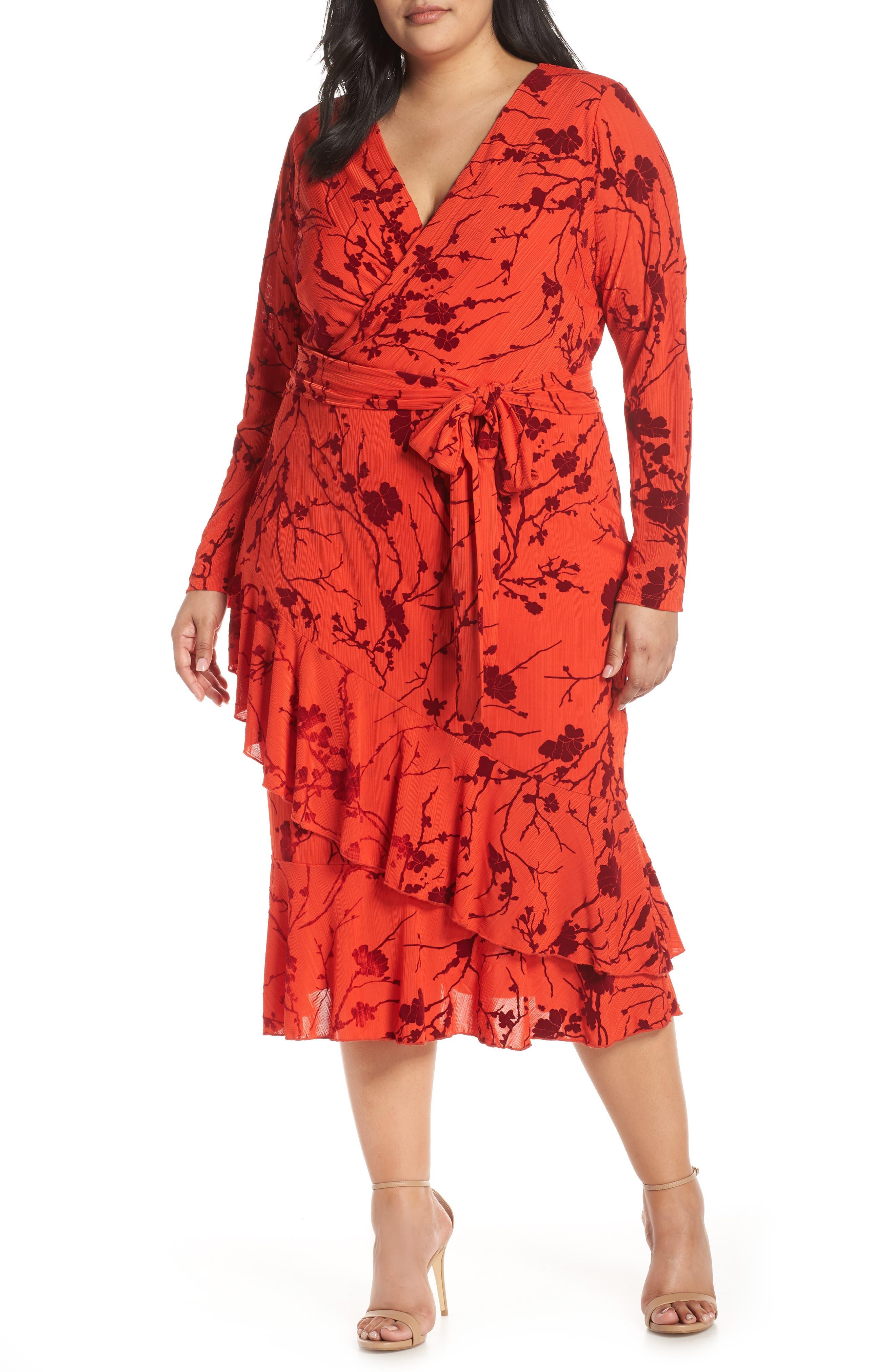 Plus Size Rachel Rachel Roy Ruffle Hem Faux Wrap Midi Dress, Red