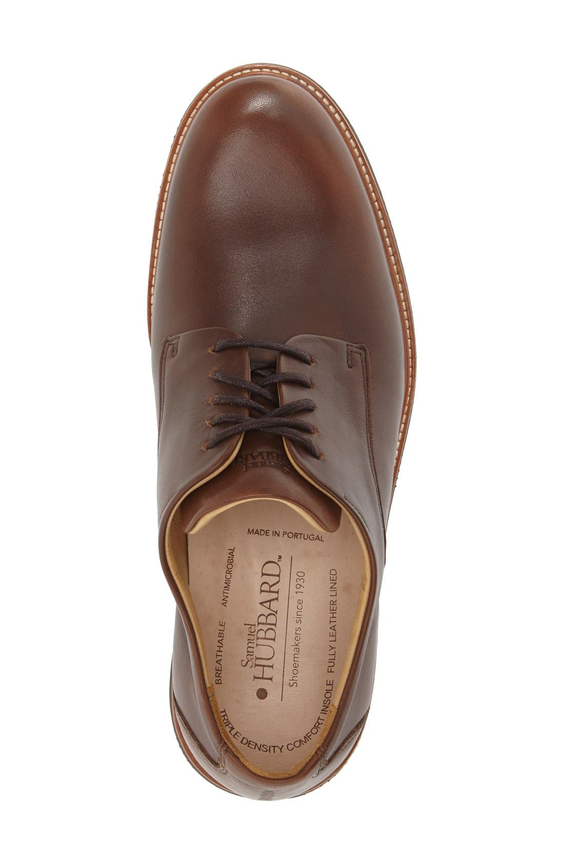SAMUEL HUBBARD, 'Founder' Plain Toe Derby, Alternate thumbnail 3, color, CHESTNUT LEATHER