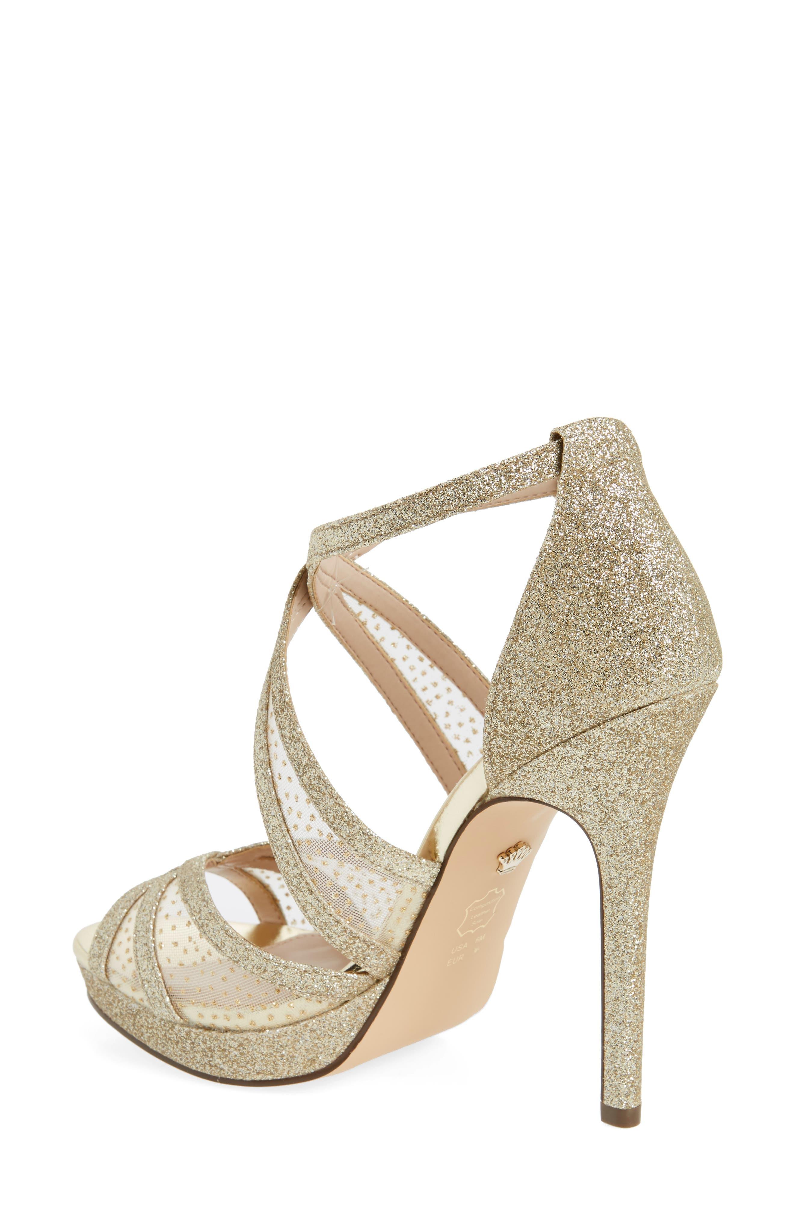 NINA, Fenna Strappy Platform Sandal, Alternate thumbnail 2, color, GOLD GLITTER FABRIC