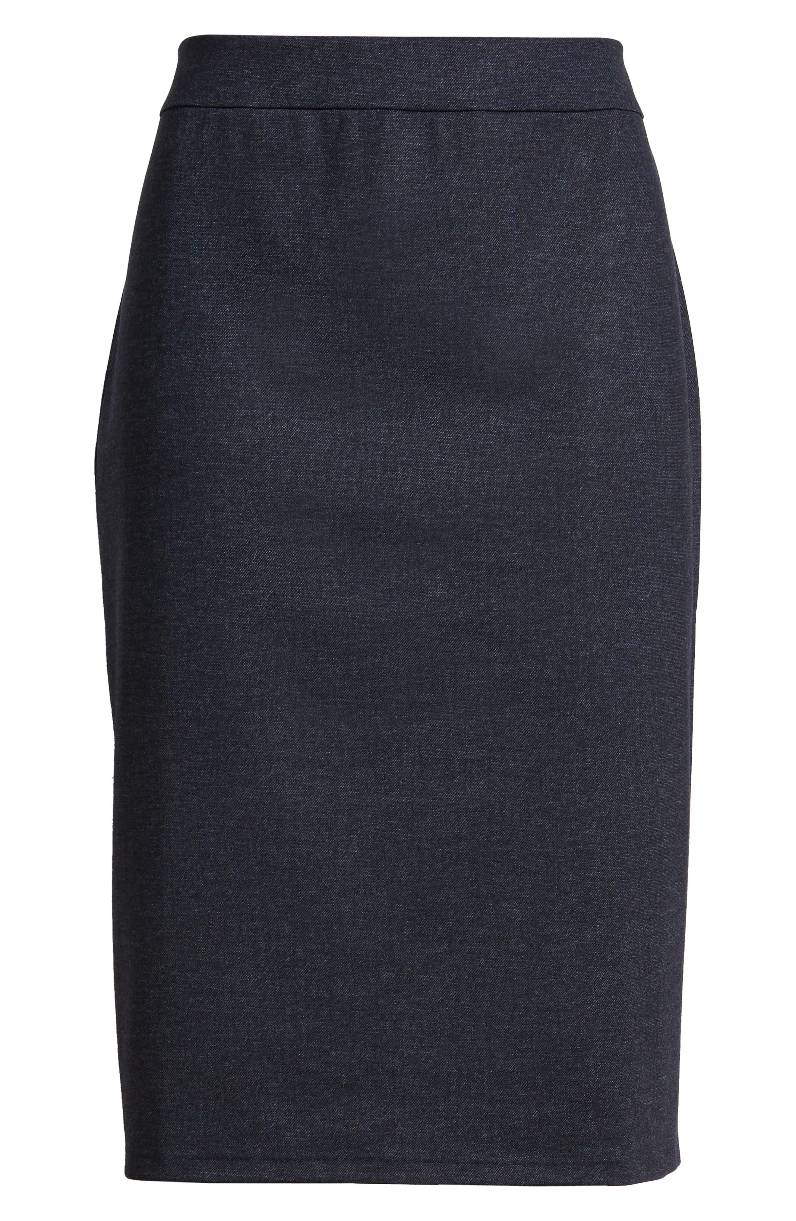 HALOGEN<SUP>®</SUP>, Knit Pencil Skirt, Alternate thumbnail 6, color, INDIGO