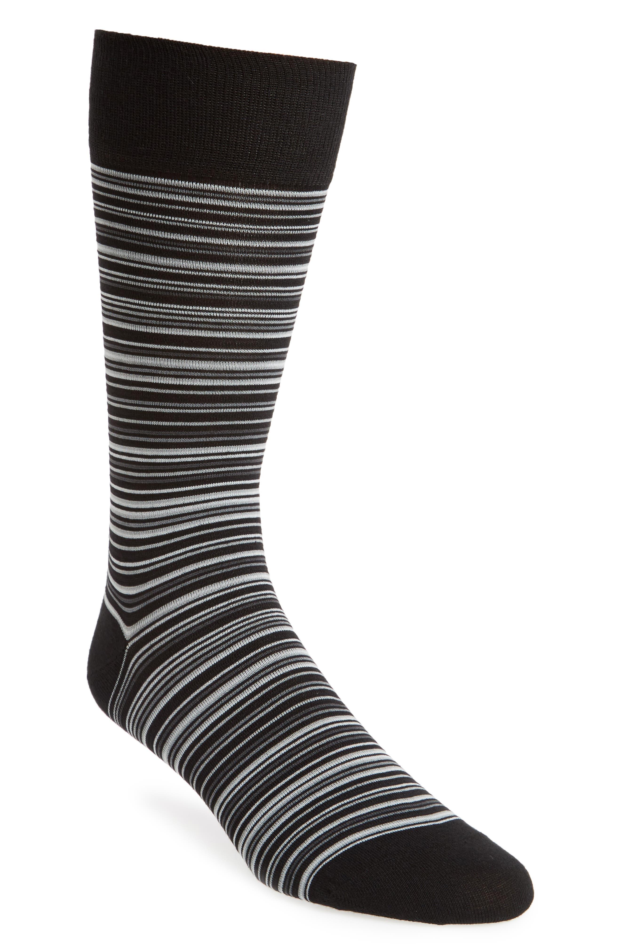 COLE HAAN, Multistripe Crew Socks, Main thumbnail 1, color, BLACK/ GREY