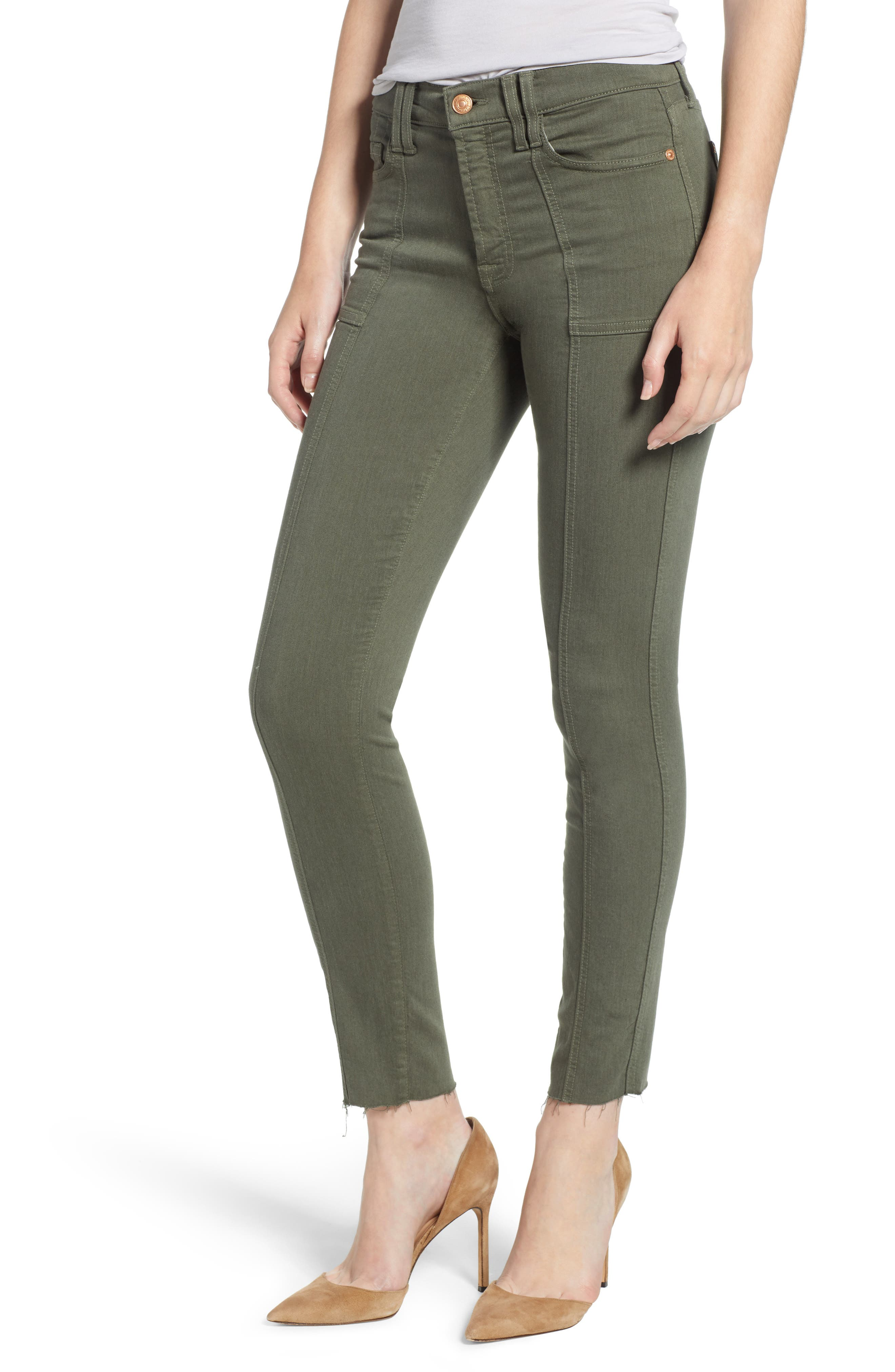 7 FOR ALL MANKIND<SUP>®</SUP> Roxanne Paneled Ankle Slim Jeans, Main, color, 301