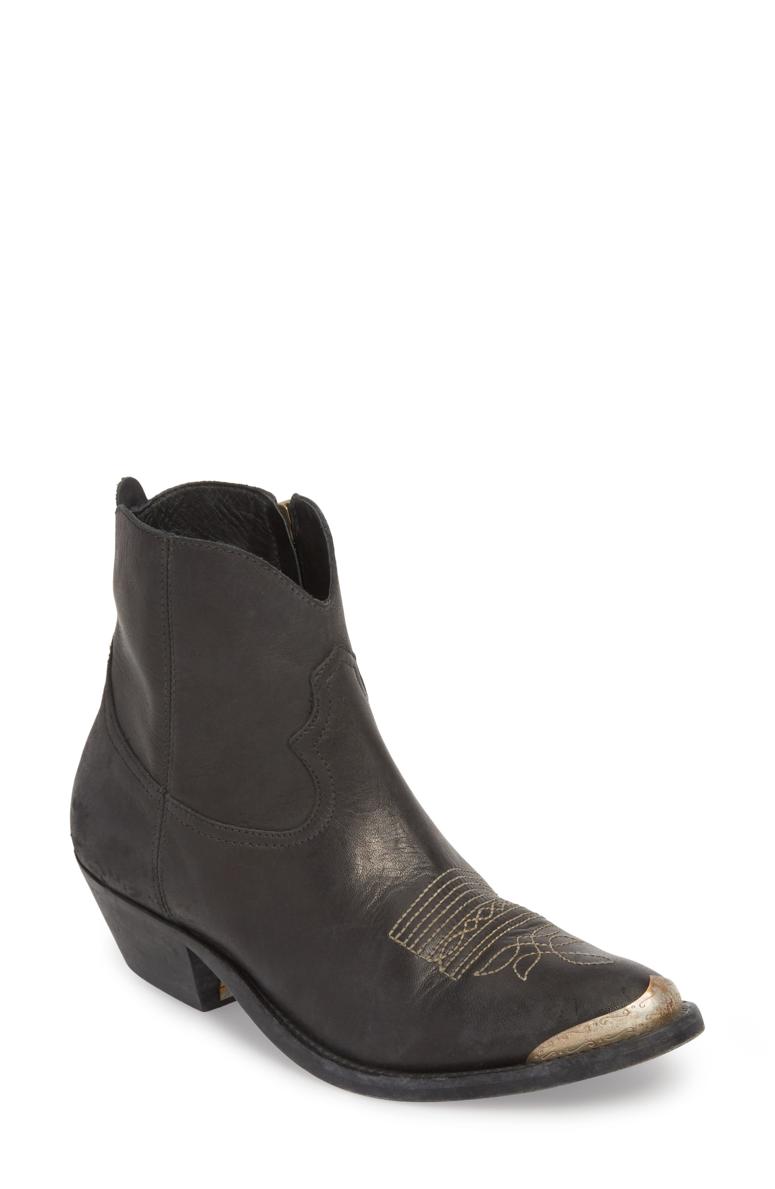 GOLDEN GOOSE, Young Western Bootie, Main thumbnail 1, color, BLACK