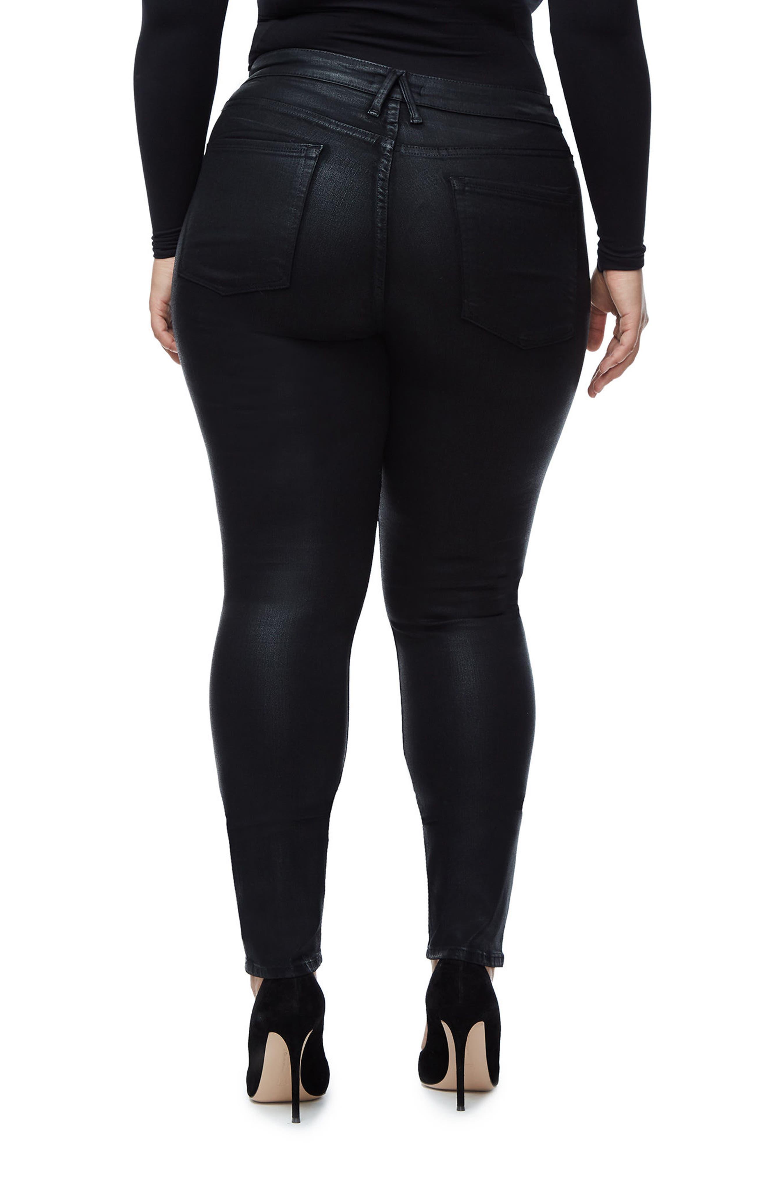 GOOD AMERICAN, Good Legs High Waist Skinny Jeans, Alternate thumbnail 7, color, BLACK