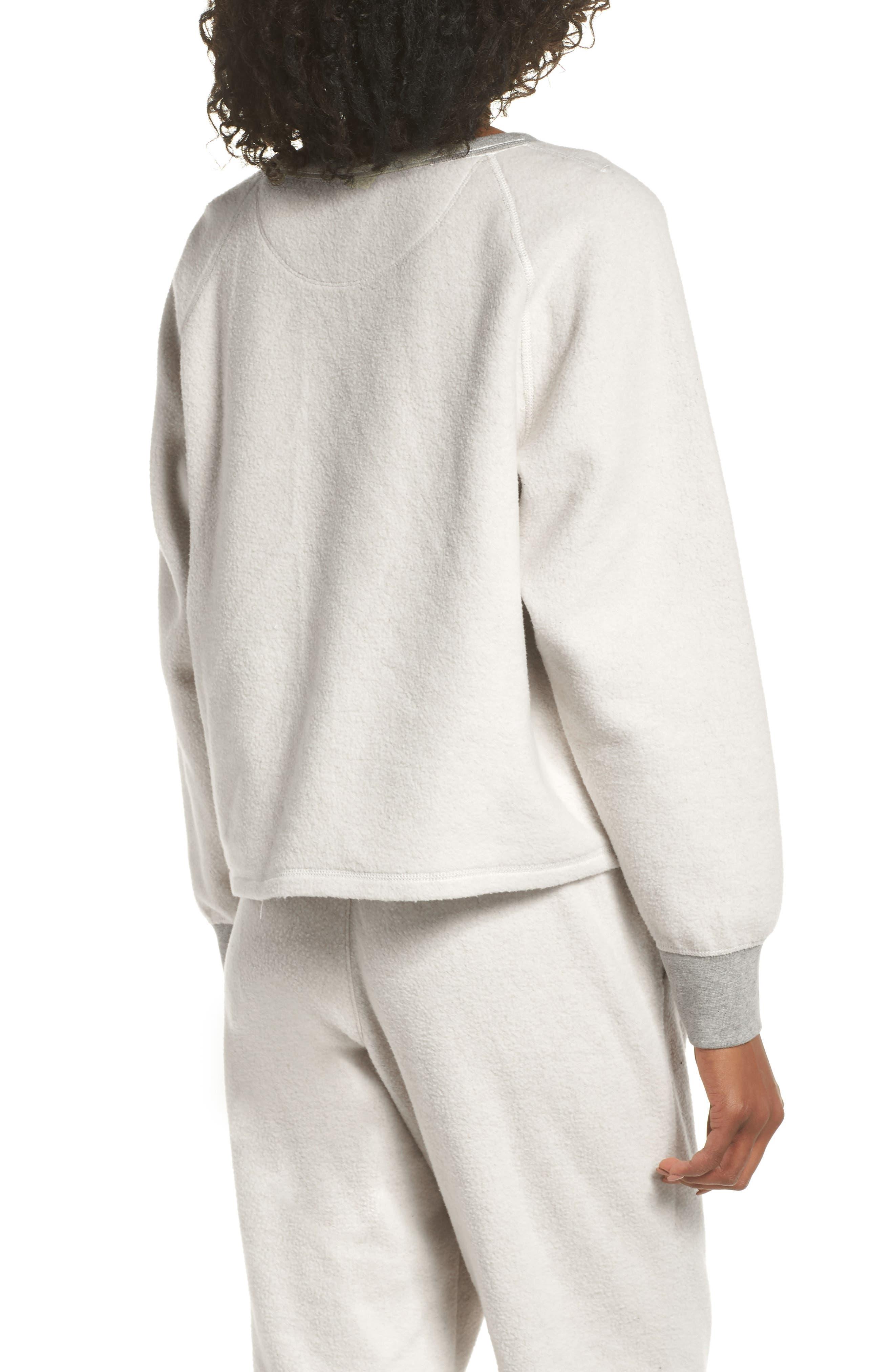MADEWELL, Fleece Pajama Sweatshirt, Alternate thumbnail 2, color, 020