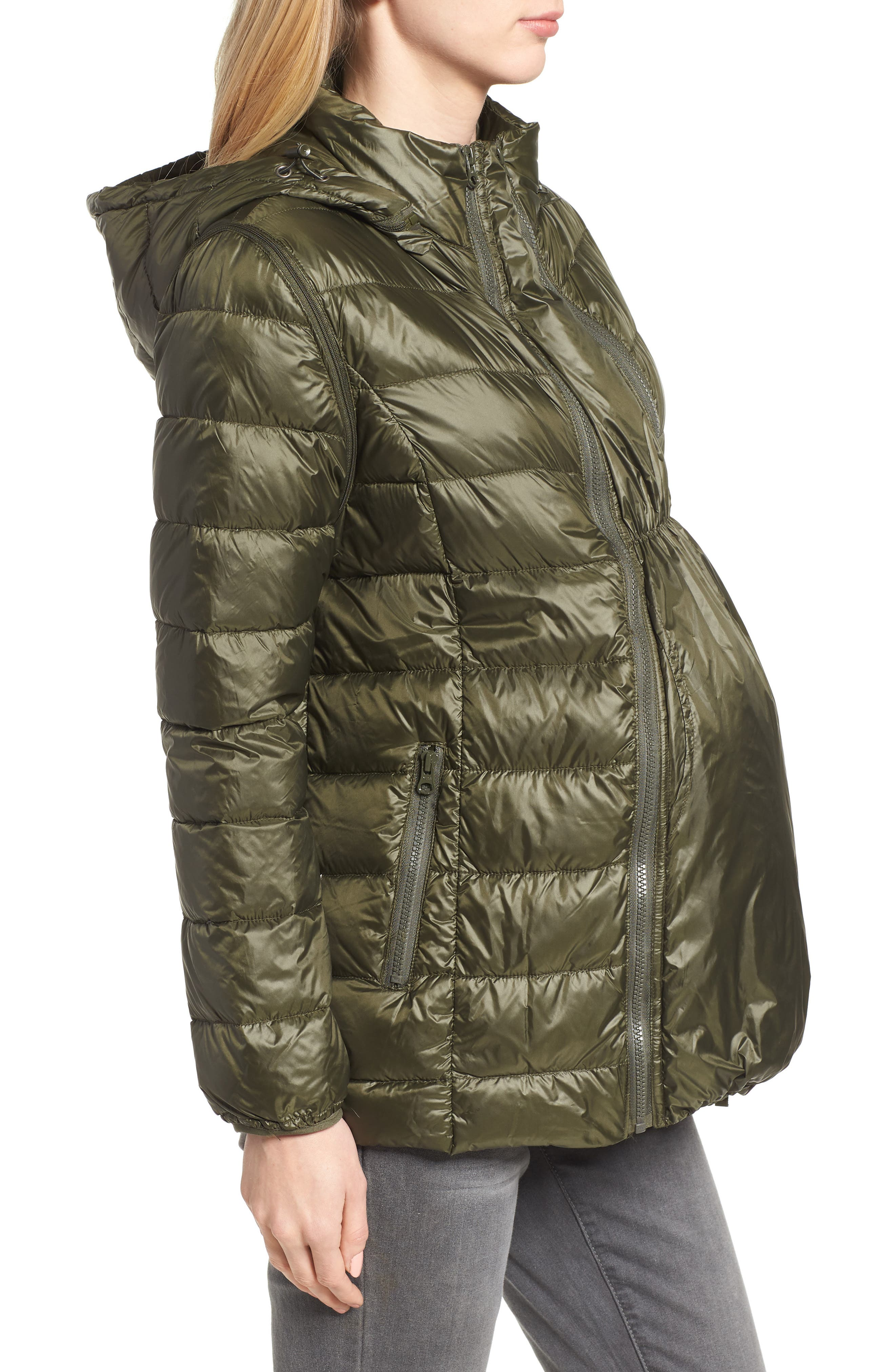 MODERN ETERNITY, Lightweight Puffer Convertible 3-in-1 Maternity Jacket, Alternate thumbnail 4, color, KHAKI GREEN