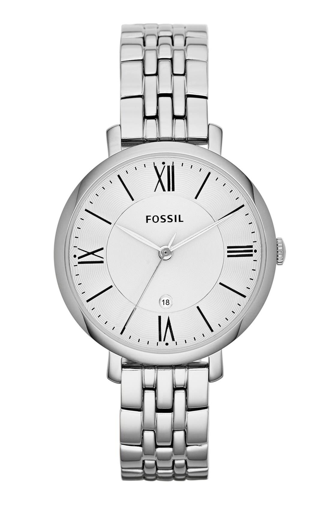 FOSSIL, 'Jacqueline' Round Bracelet Watch, 36mm, Main thumbnail 1, color, SILVER