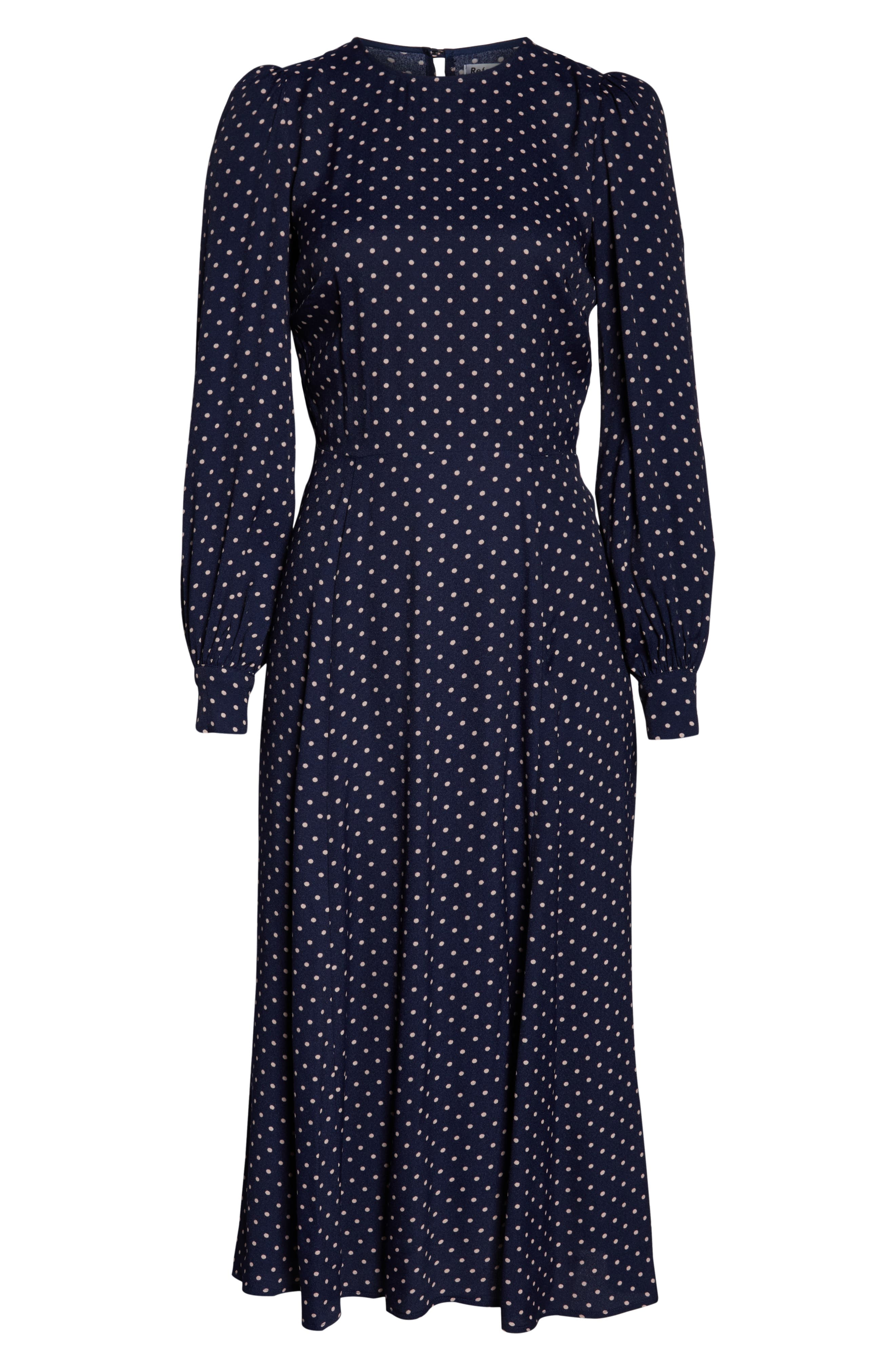 REFORMATION, Abigaile Long Sleeve Dress, Alternate thumbnail 6, color, AFTERNOON