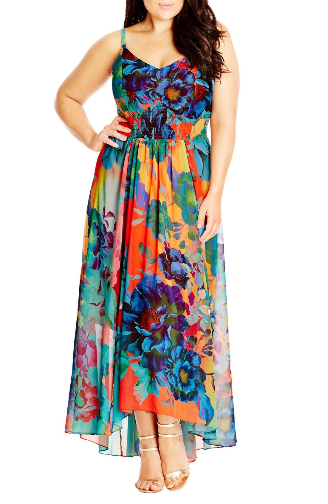 CITY CHIC, 'Hot Summer Days' Print High/Low Maxi Dress, Main thumbnail 1, color, CORAL