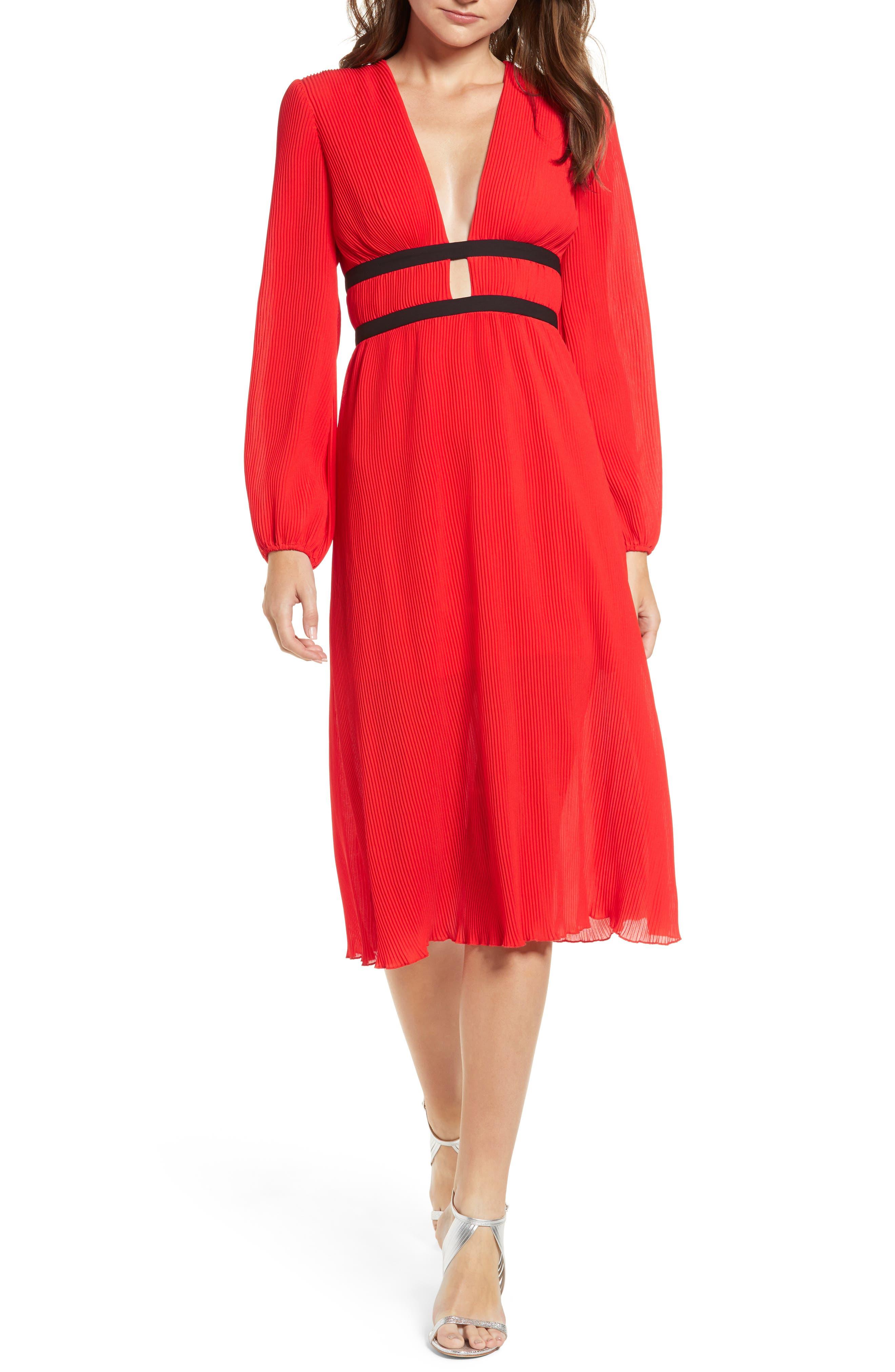 WAYF, Patton Plunge Plissé Dress, Main thumbnail 1, color, FIRE RED