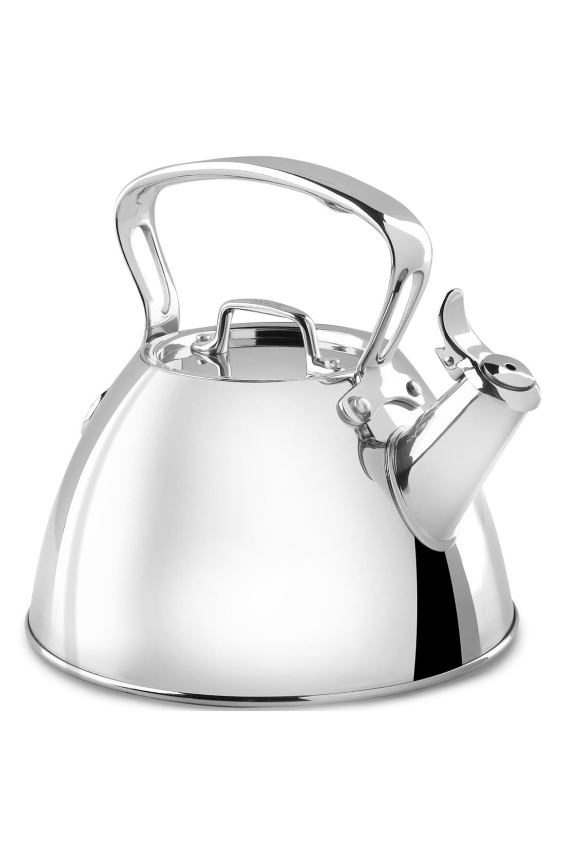 ALL-CLAD 2-Quart Stainless Steel Tea Kettle, Main, color, STAINLESS STEEL