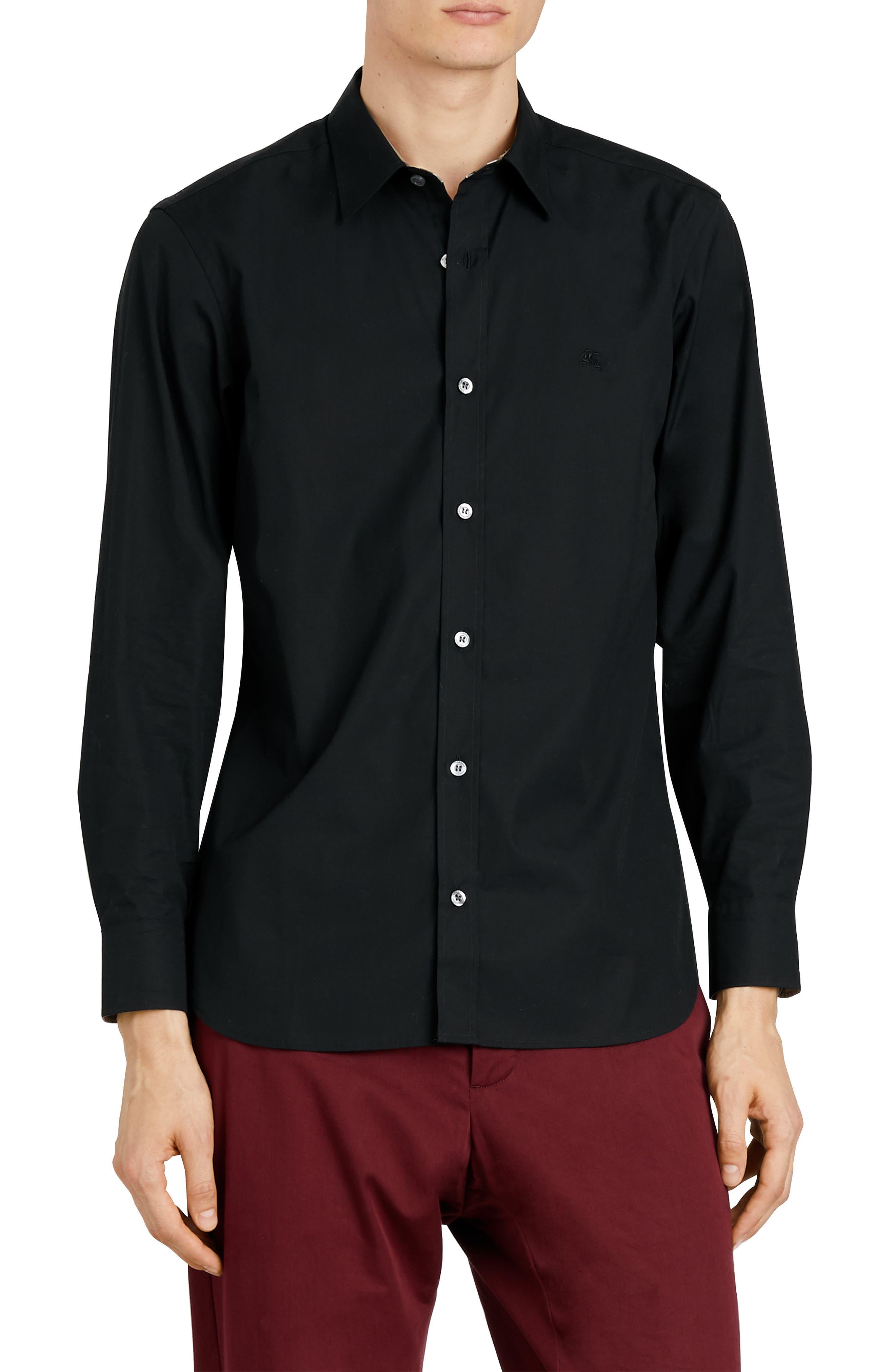 BURBERRY William Stretch Poplin Sport Shirt, Main, color, BLACK