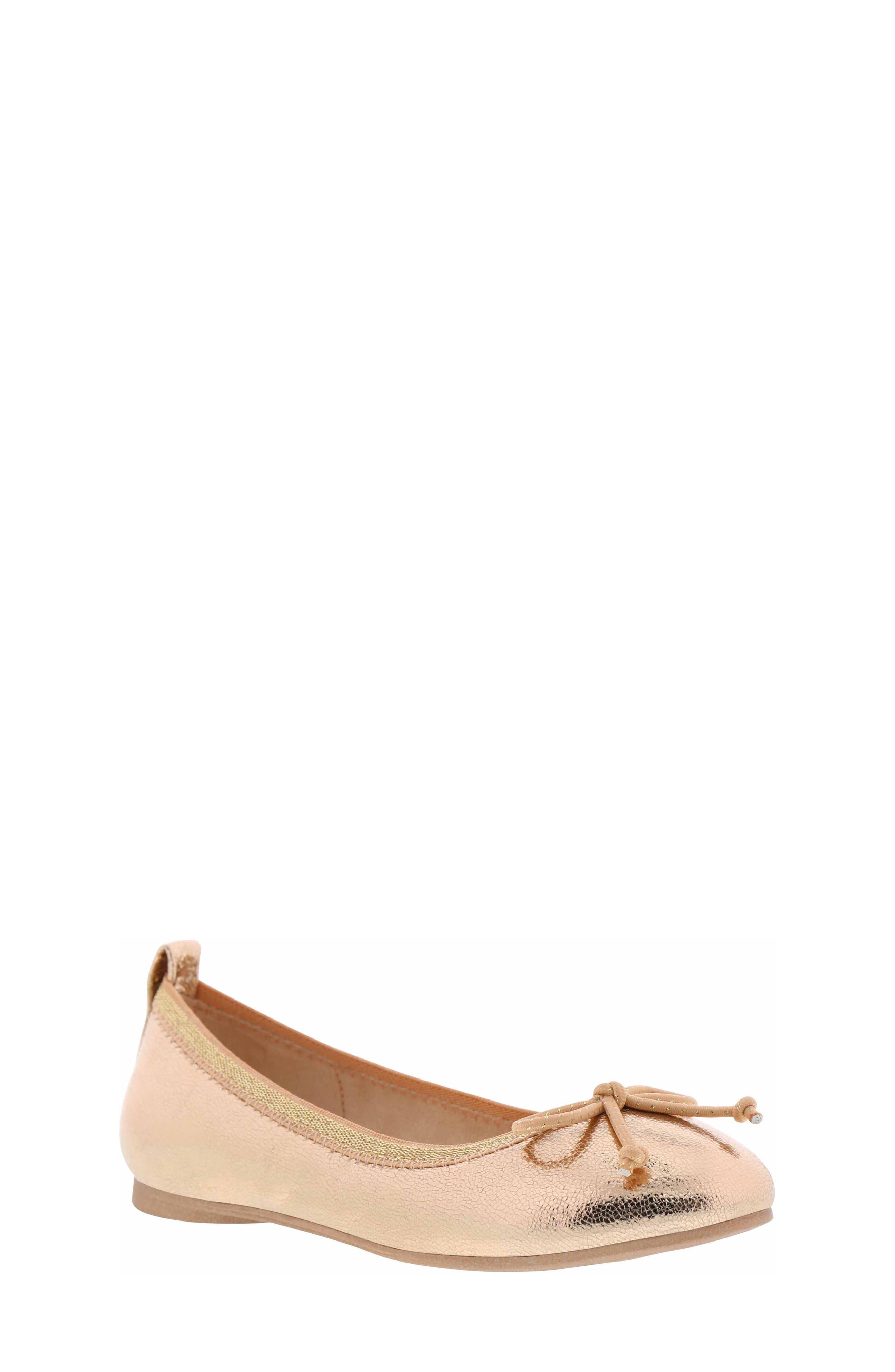 REACTION KENNETH COLE Copy Tap Ballet Flat, Main, color, ROSE METALLIC