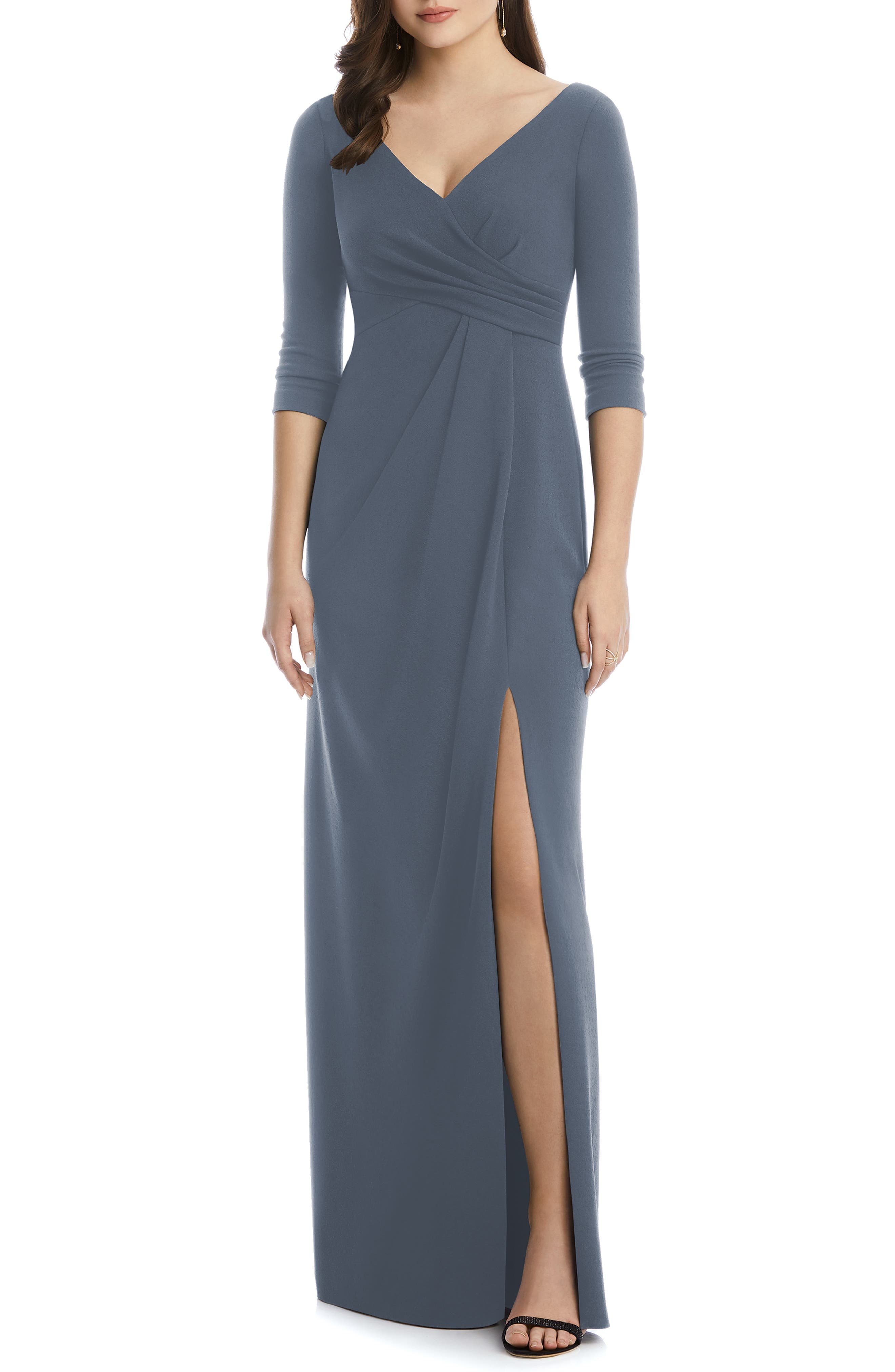 After Six Crisscross Stretch Crepe Evening Dress, Grey