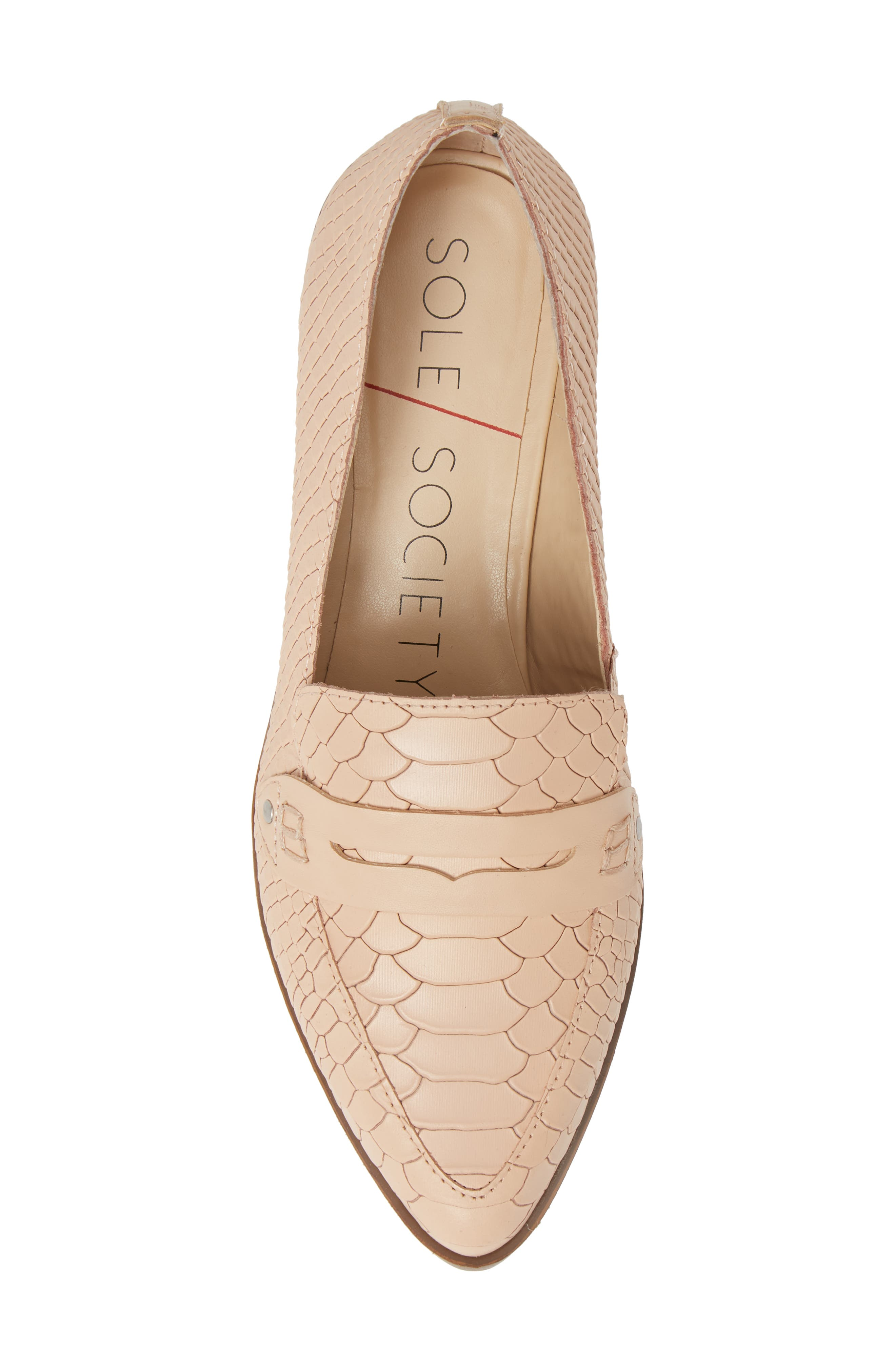 SOLE SOCIETY, Jessica Smoking Slipper, Alternate thumbnail 5, color, BISQUE LEATHER