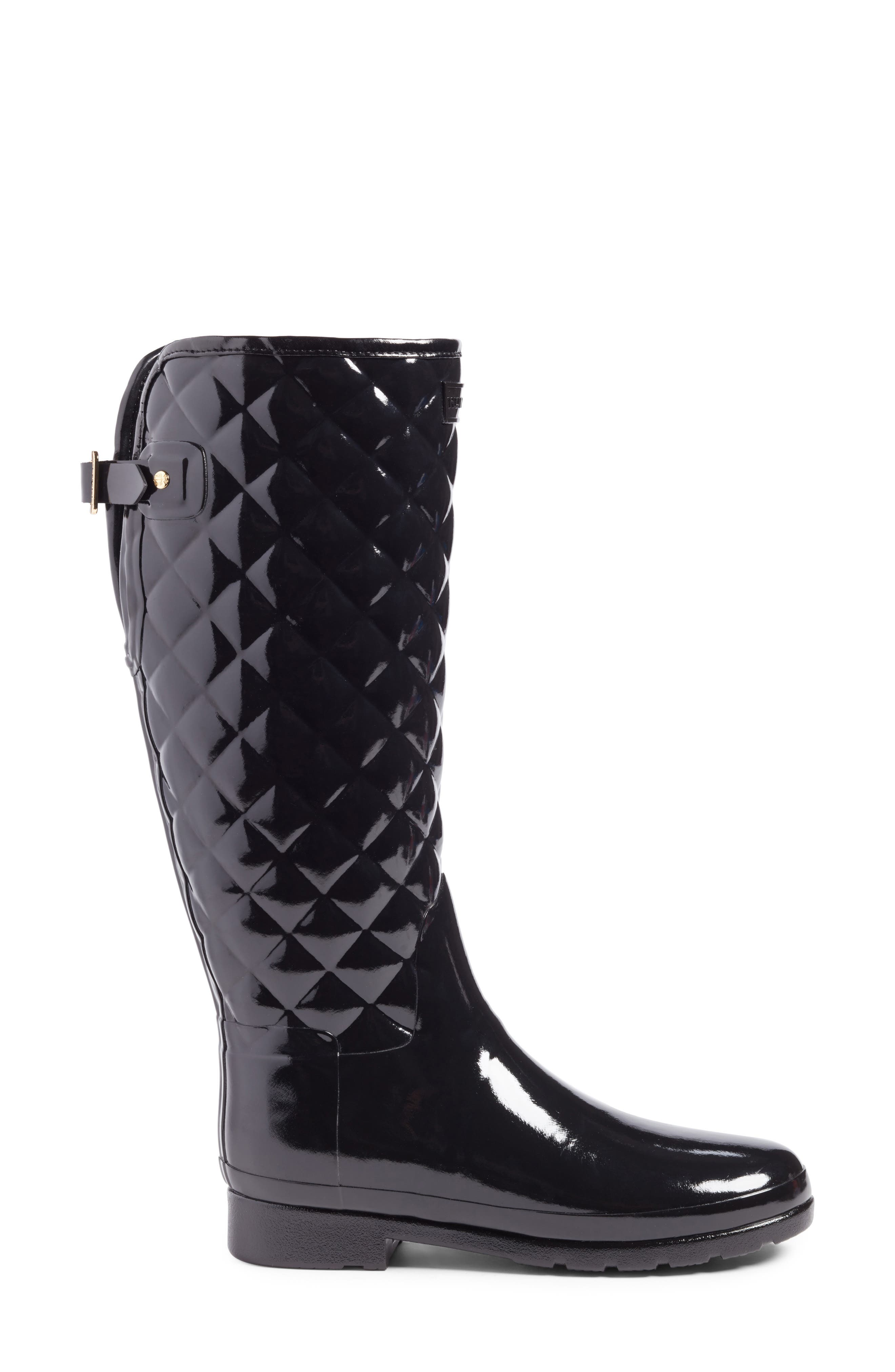 HUNTER, Original Refined High Gloss Quilted Waterproof Rain Boot, Alternate thumbnail 3, color, BLACK