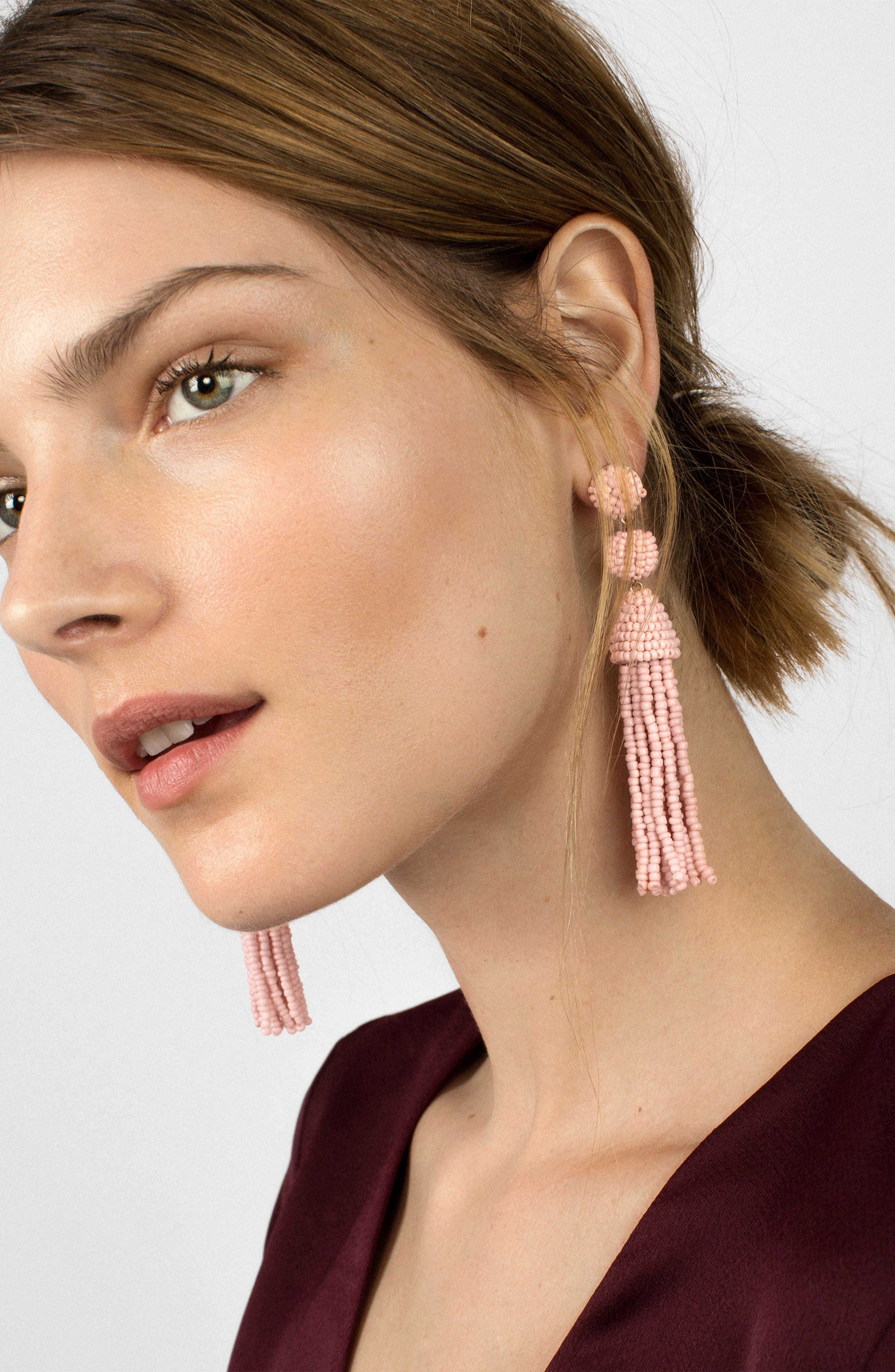 BAUBLEBAR, Granita Beaded Tassel Earrings, Alternate thumbnail 2, color, BLUSH
