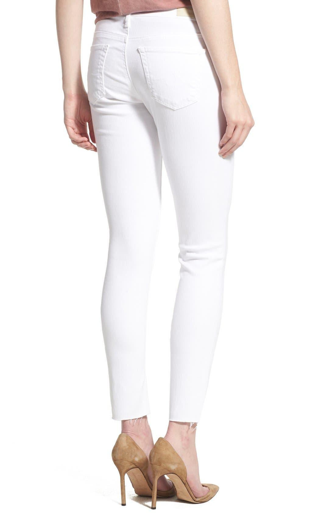 AG, 'The Legging' Cutoff Ankle Skinny Jeans, Alternate thumbnail 4, color, WHITE