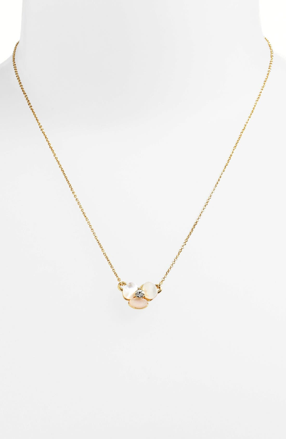 KATE SPADE NEW YORK, 'disco pansy' pendant necklace, Main thumbnail 1, color, CREAM/ CLEAR/ GOLD