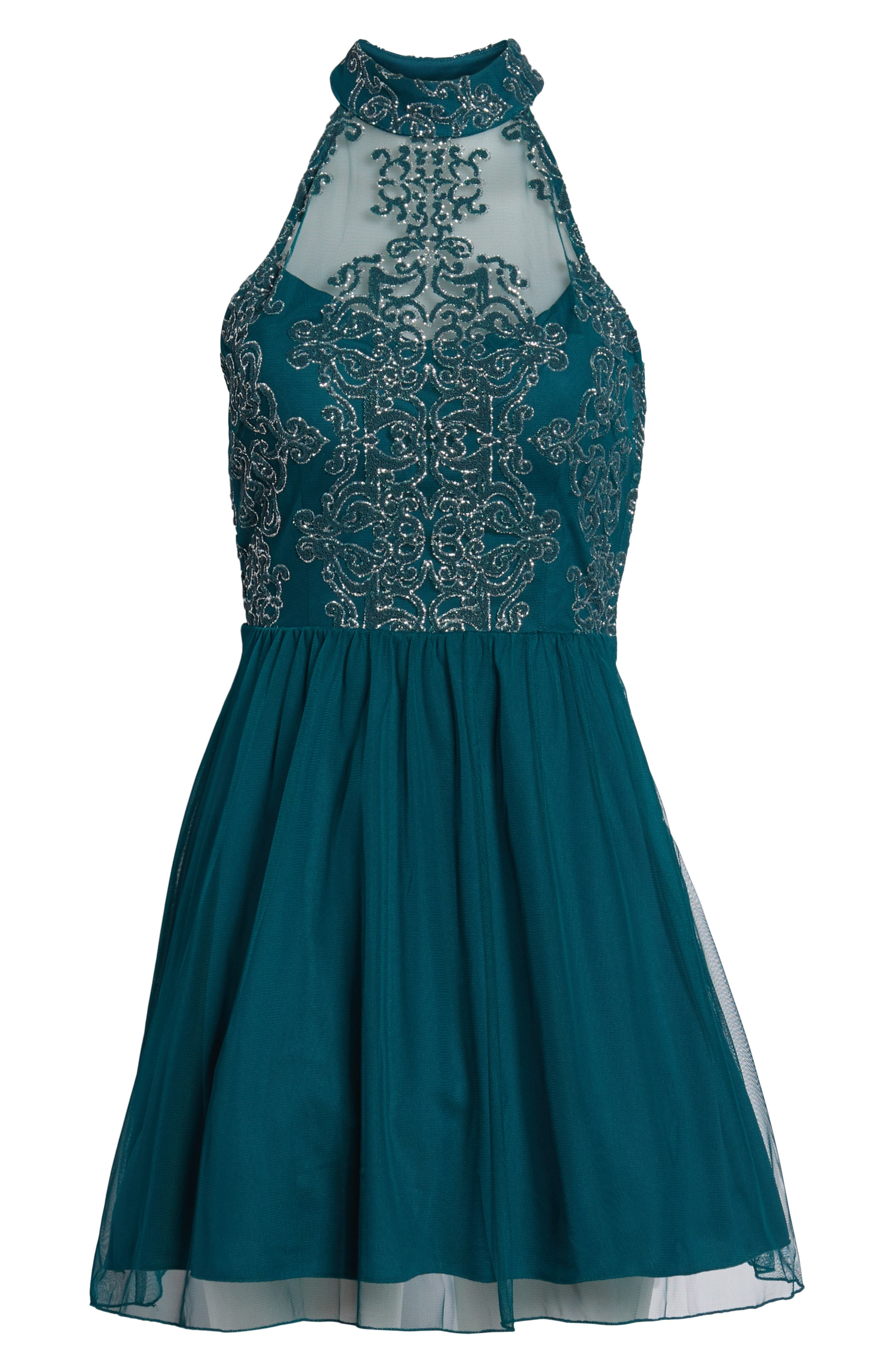 SPEECHLESS, Lace Fit & Flare Dress, Alternate thumbnail 7, color, EMERALD