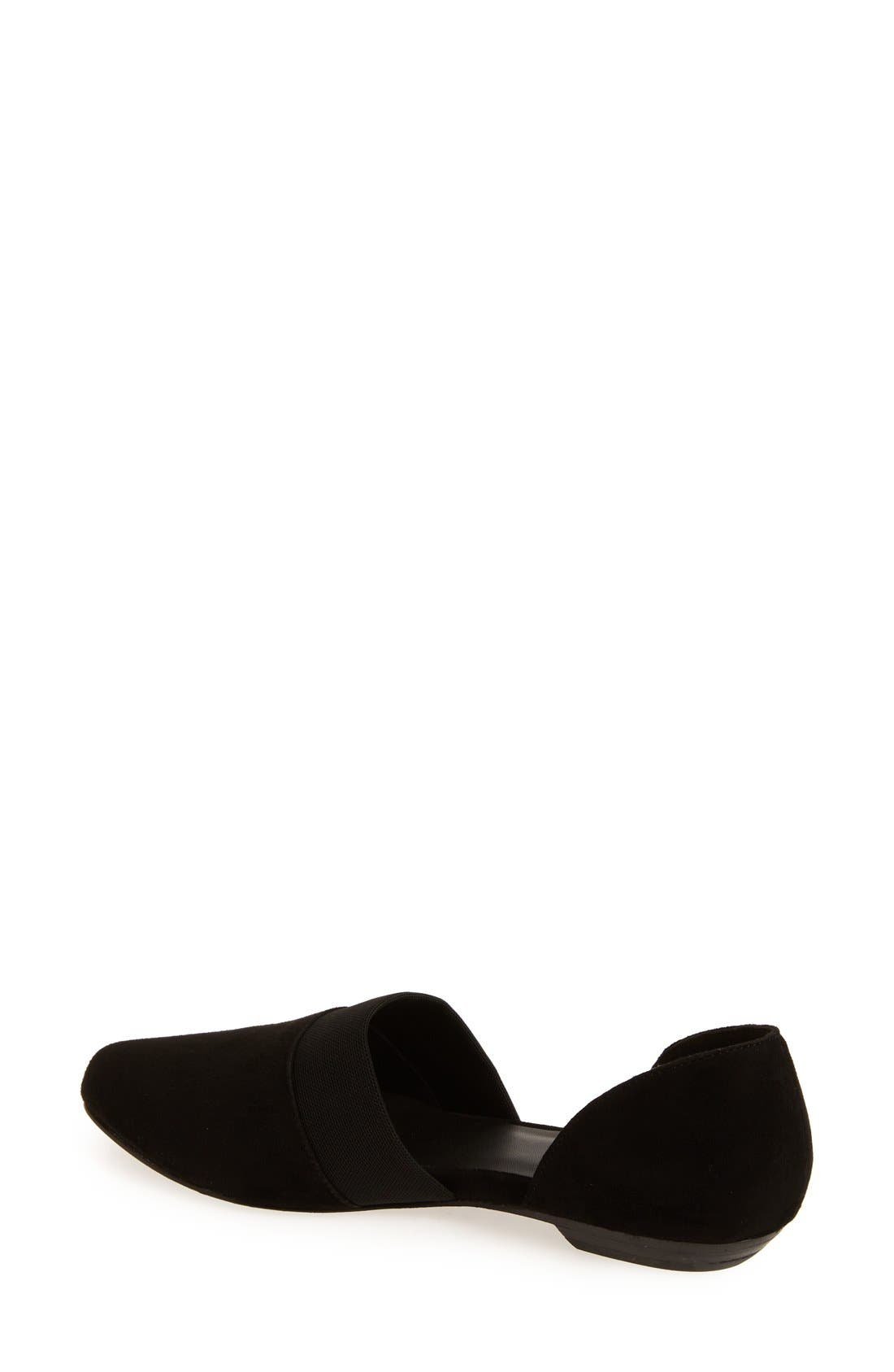 EILEEN FISHER, Flute Pointy Toe Flat, Alternate thumbnail 2, color, BLACK SUEDE