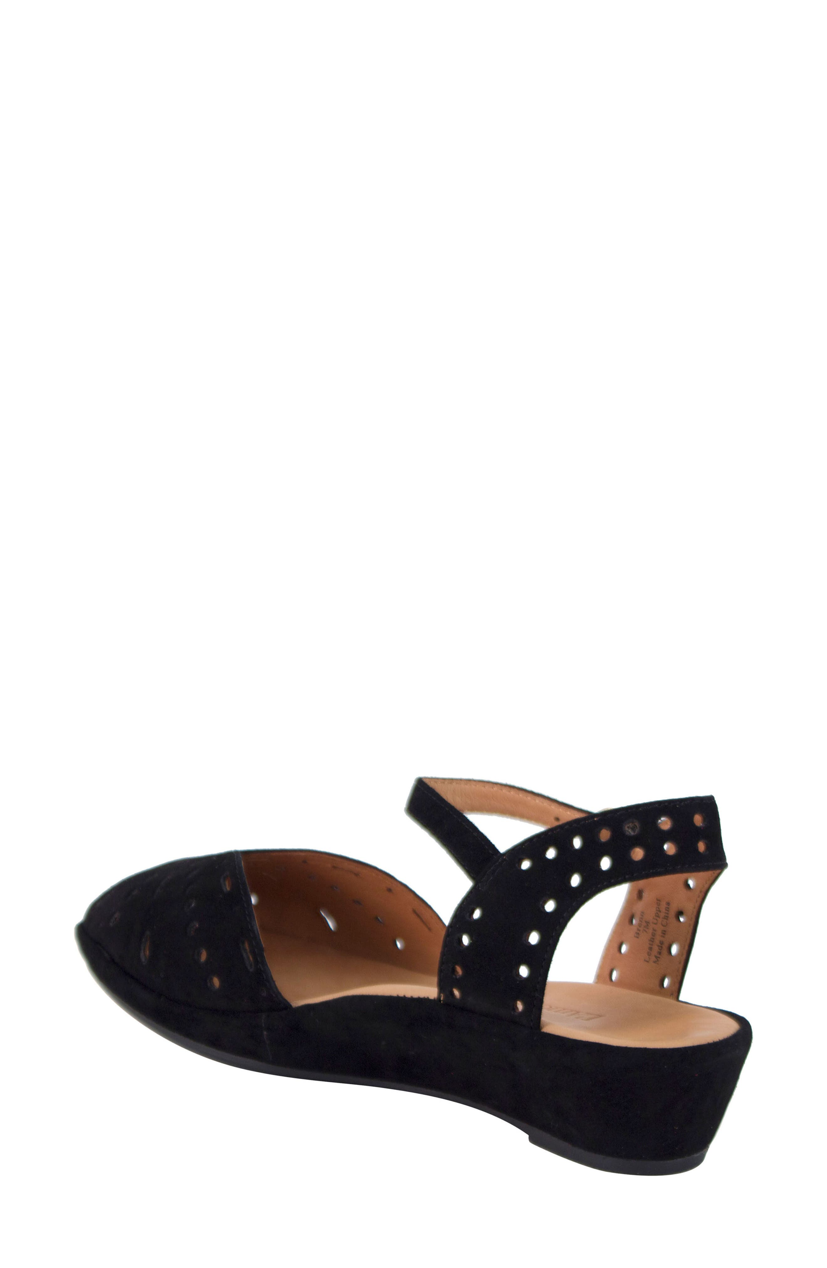 L'AMOUR DES PIEDS, 'Brenn' Ankle Strap Sandal, Alternate thumbnail 2, color, BLACK SUEDE